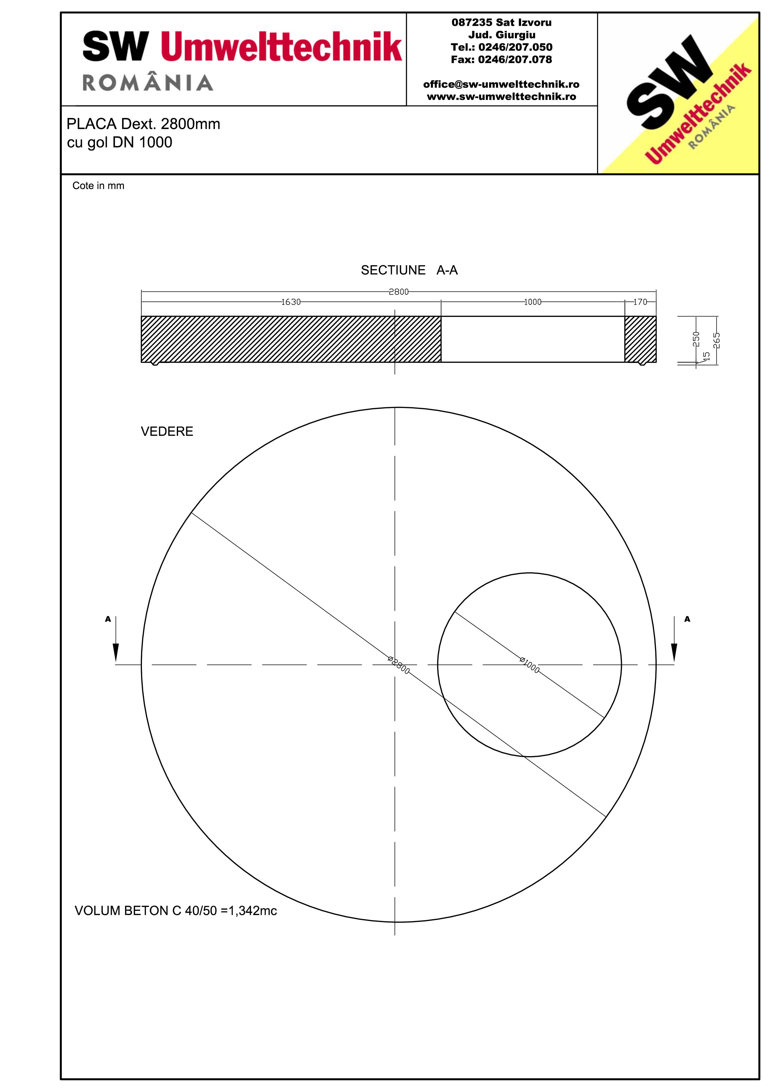 Pagina 1 - CAD-PDF Placa Dext. 2800 H250 cu gol DN1000 SW UMWELTTECHNIK Detaliu de produs