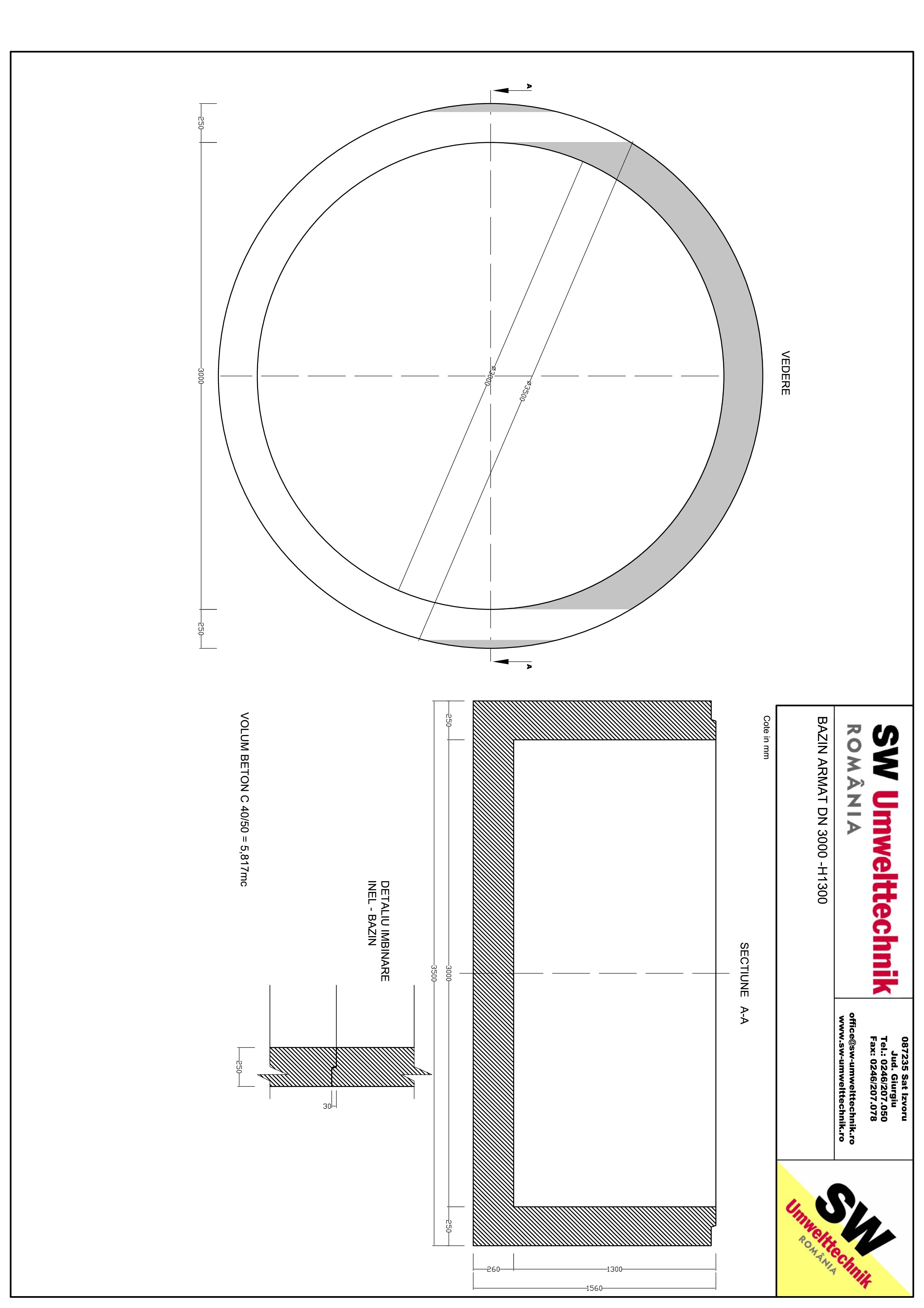 Pagina 1 - CAD-PDF Bazin armat DN3000 H1300 SW UMWELTTECHNIK Detaliu de produs