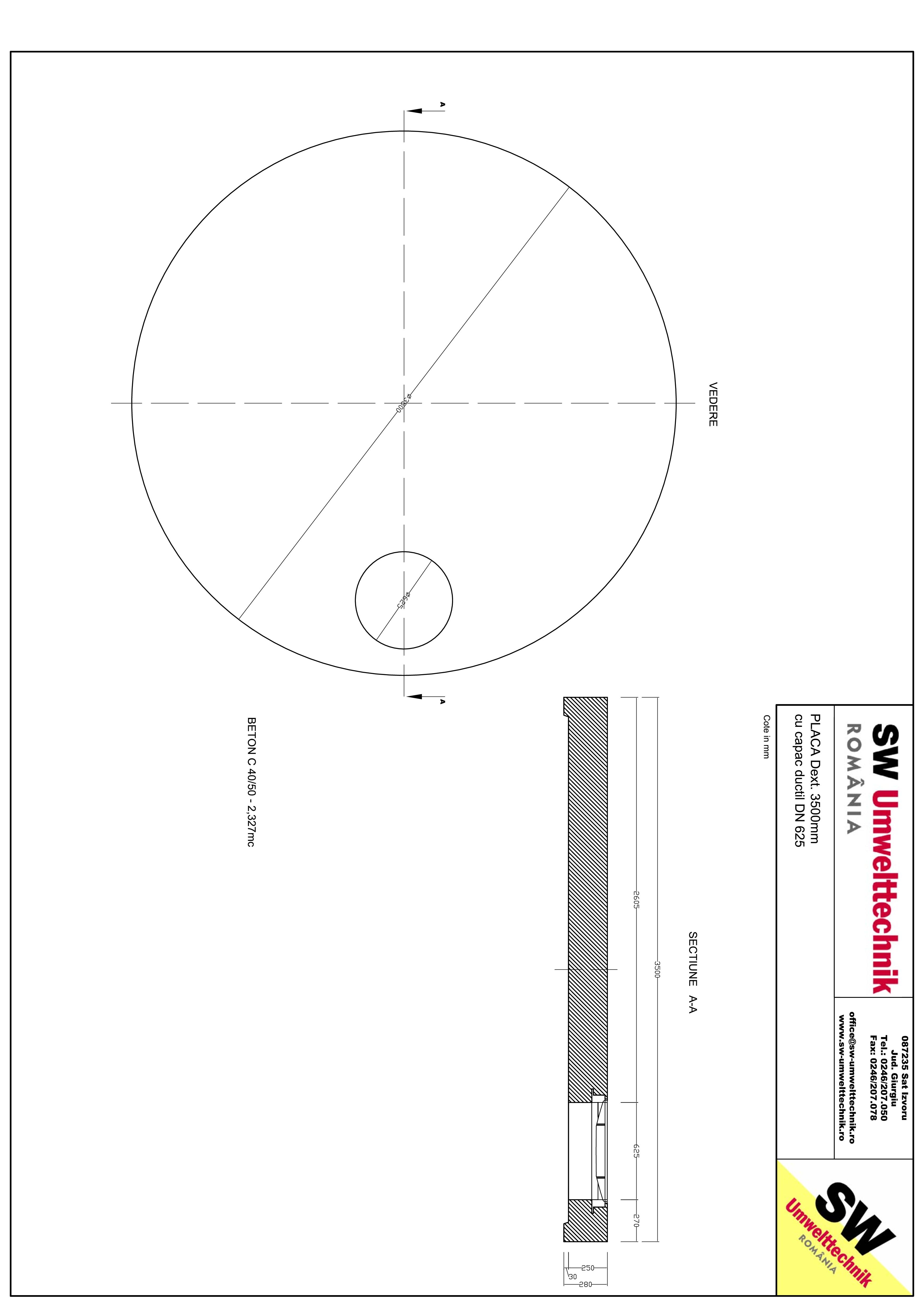 Pagina 1 - CAD-PDF Placa Dext. 3500 H250 cu capac ductil DN625 SW UMWELTTECHNIK Detaliu de produs