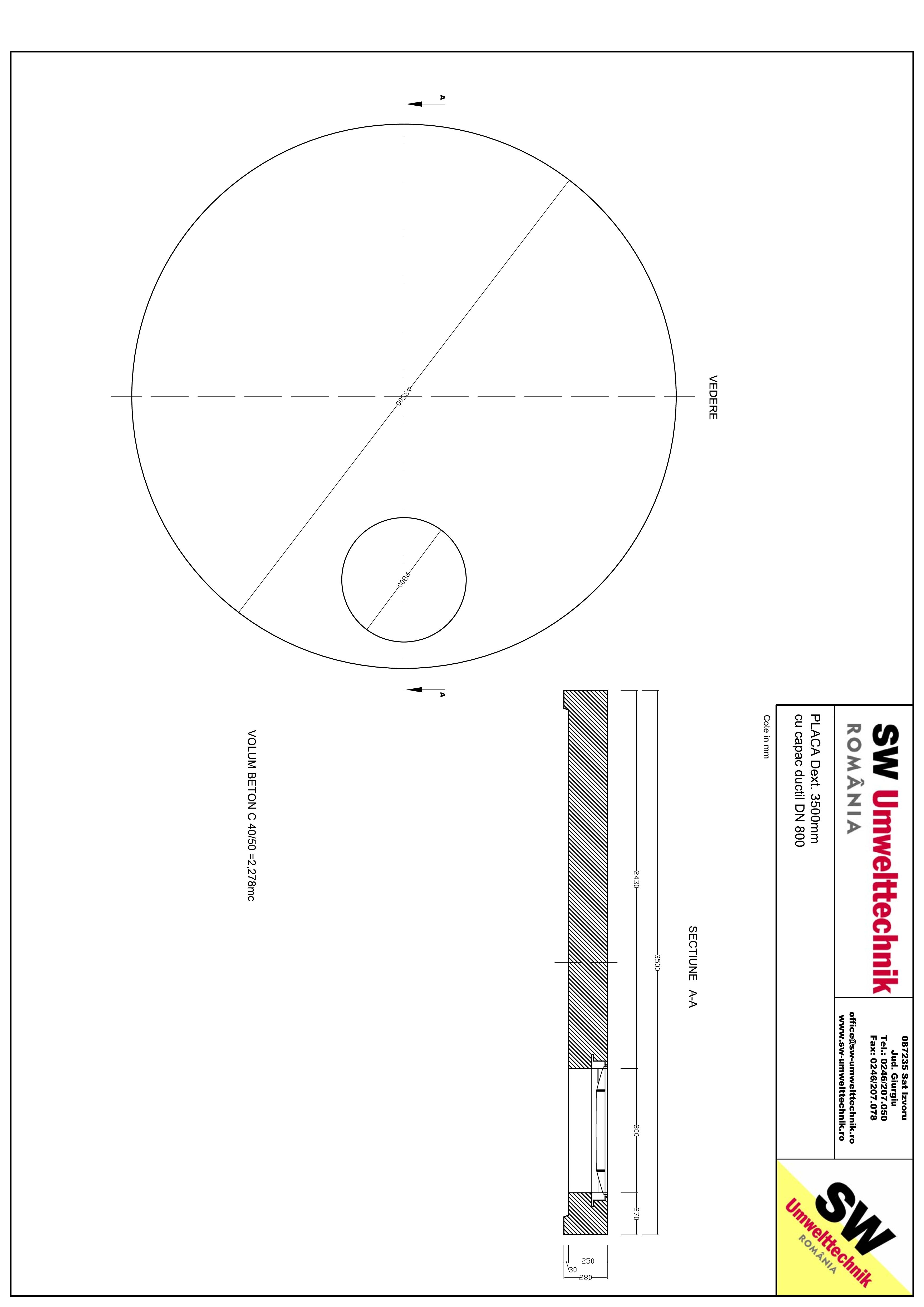 Pagina 1 - CAD-PDF Placa Dext. 3500 H250 cu capac ductil DN800 SW UMWELTTECHNIK Detaliu de produs