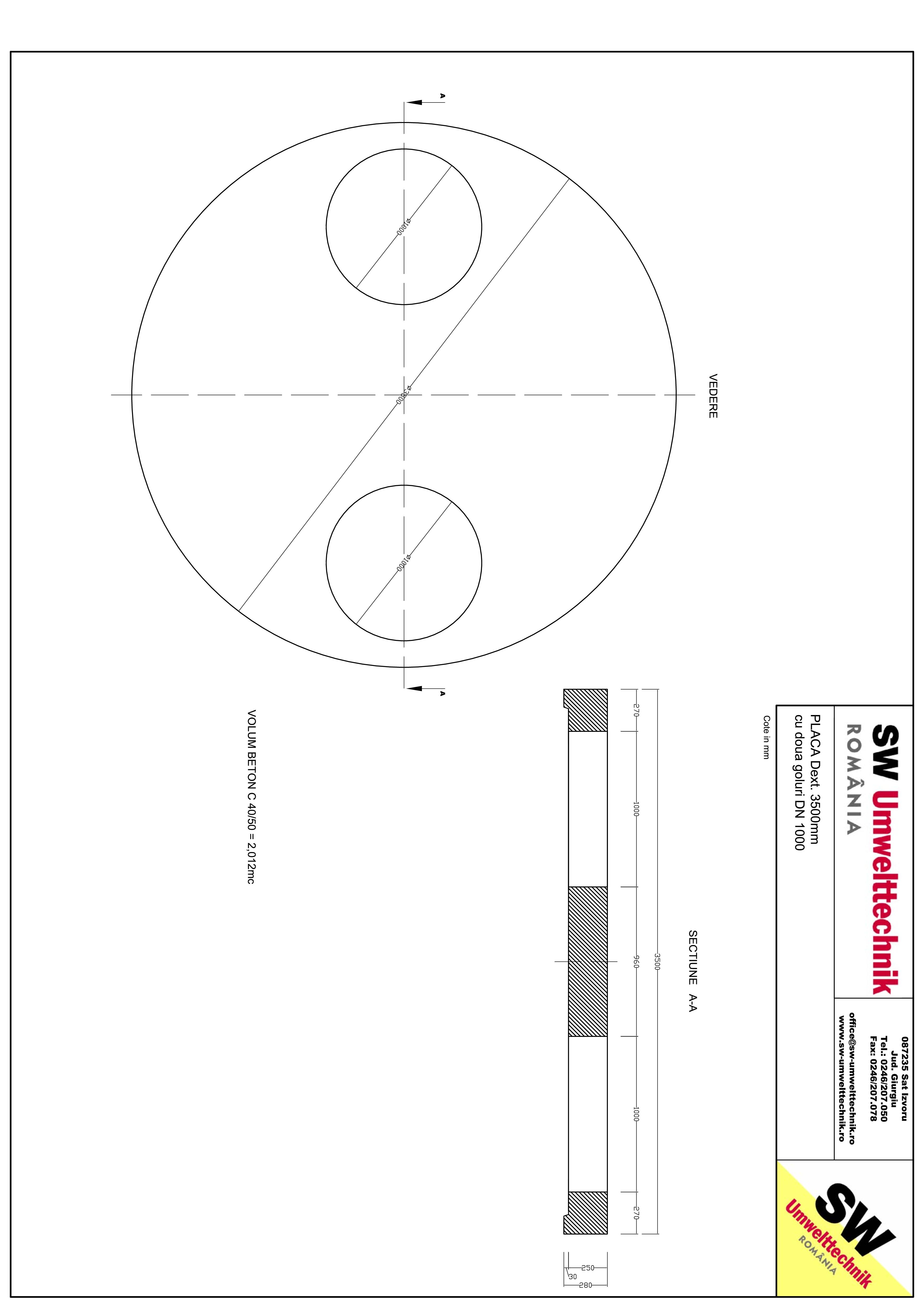 Pagina 1 - CAD-PDF Placa Dext. 3500 H250 cu doua goluri DN1000 SW UMWELTTECHNIK Detaliu de produs