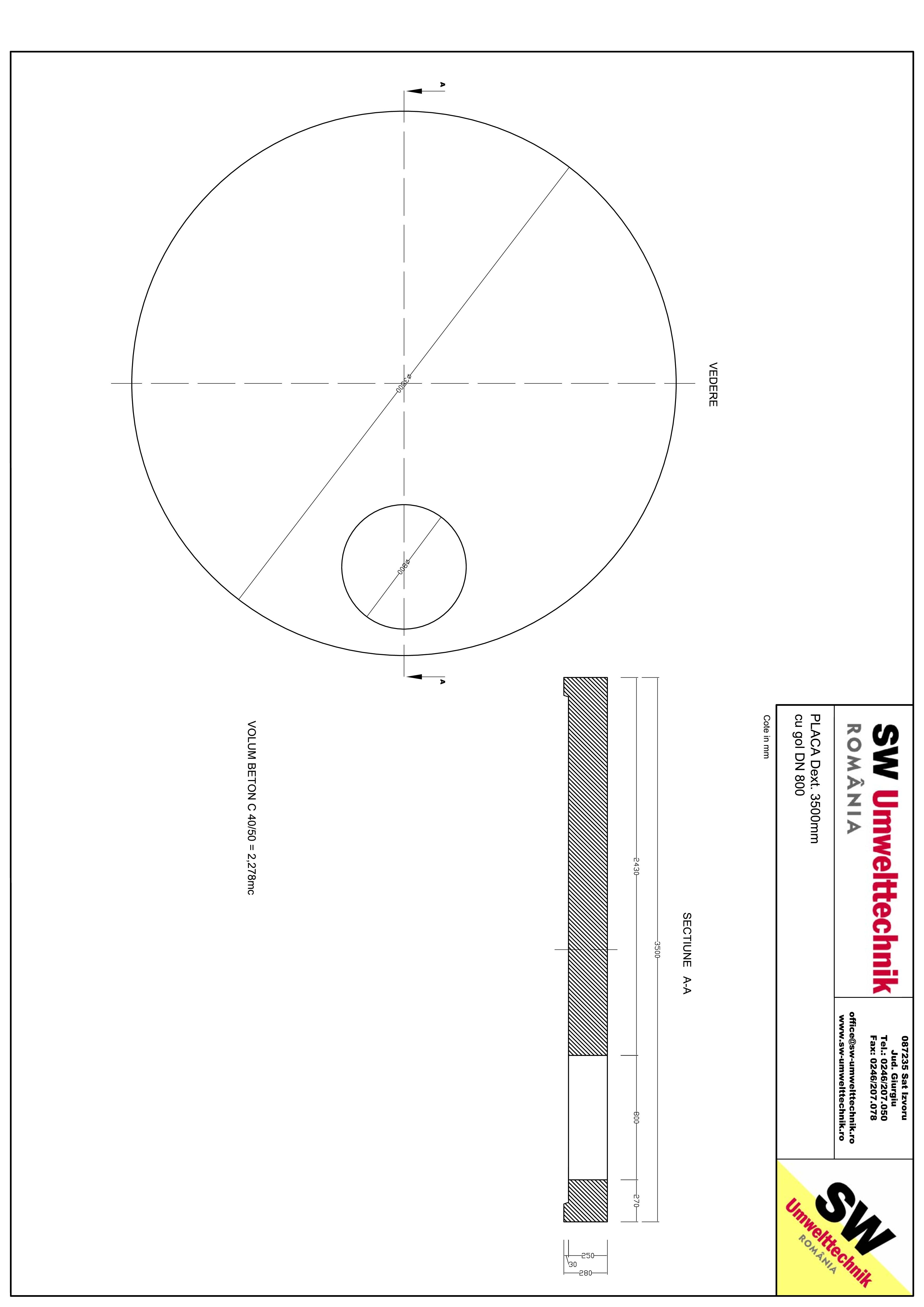 Pagina 1 - CAD-PDF Placa Dext. 3500 H250 cu gol DN800 SW UMWELTTECHNIK Detaliu de produs