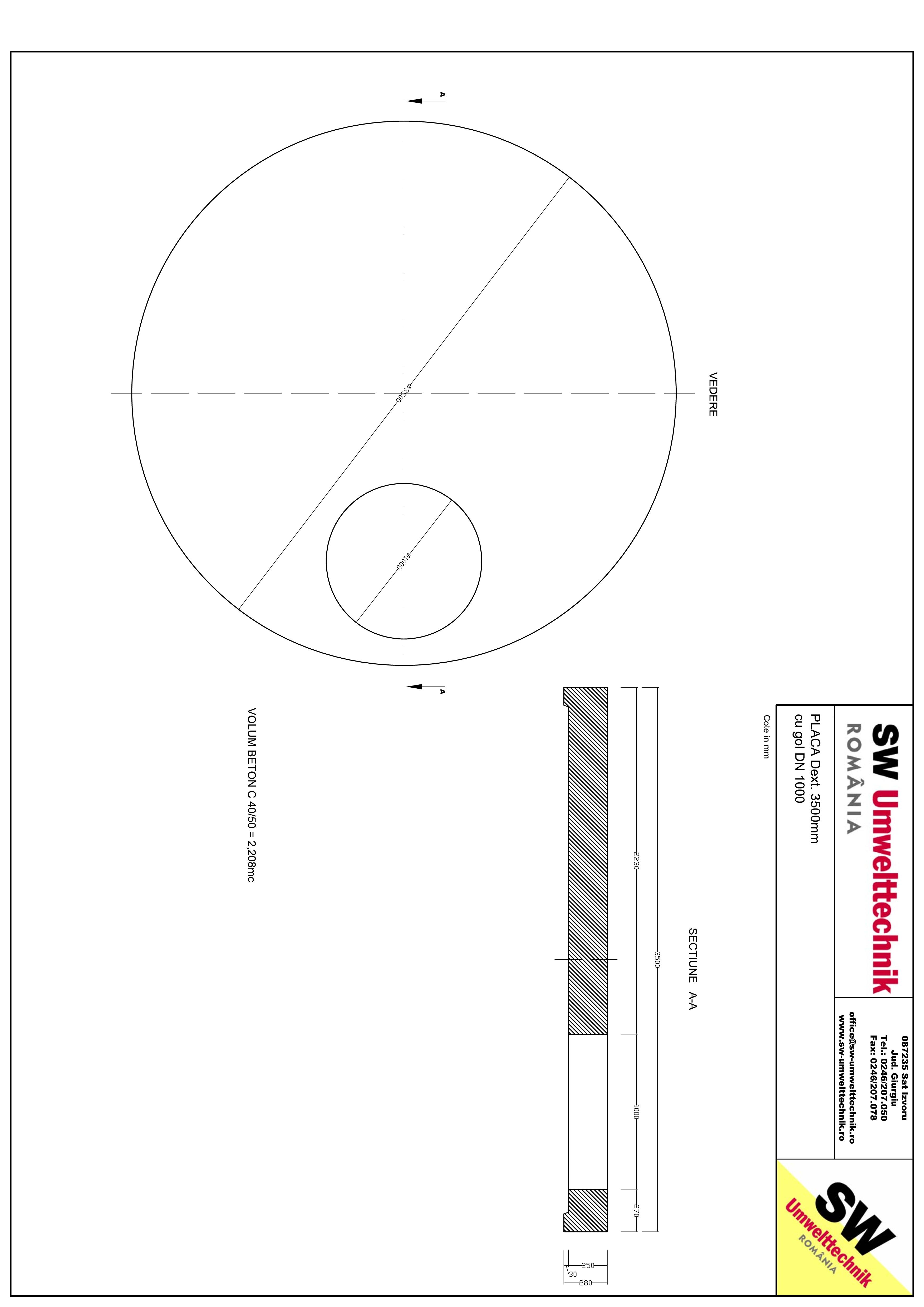 Pagina 1 - CAD-PDF Placa Dext. 3500 H250 cu gol DN1000 SW UMWELTTECHNIK Detaliu de produs