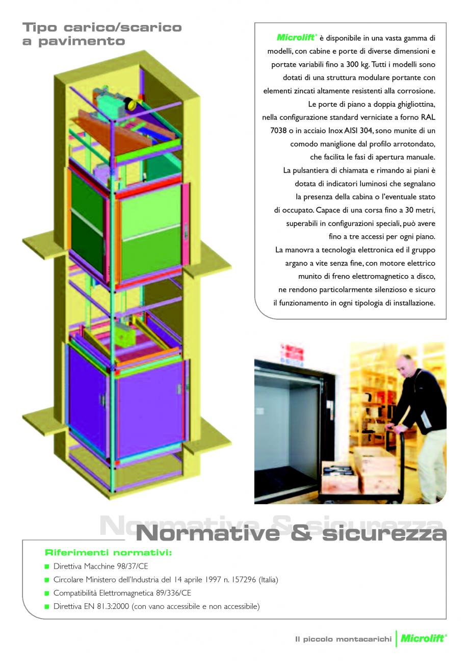 Catalog brosura ascensoare monte charge microlift daldoss for Piani economici della cabina di ceppo