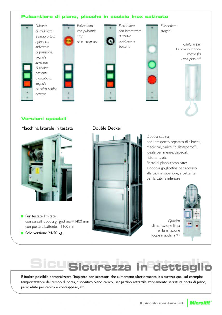 Catalog brosura ascensoare monte charge microlift daldoss for Piccoli piani cabina con soppalco e veranda