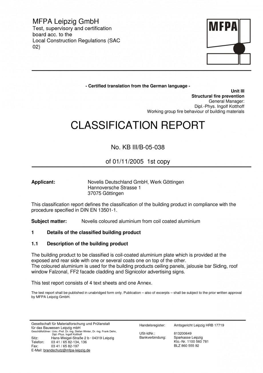 Certificare Produs Clasificarea La Foc Conform Din En