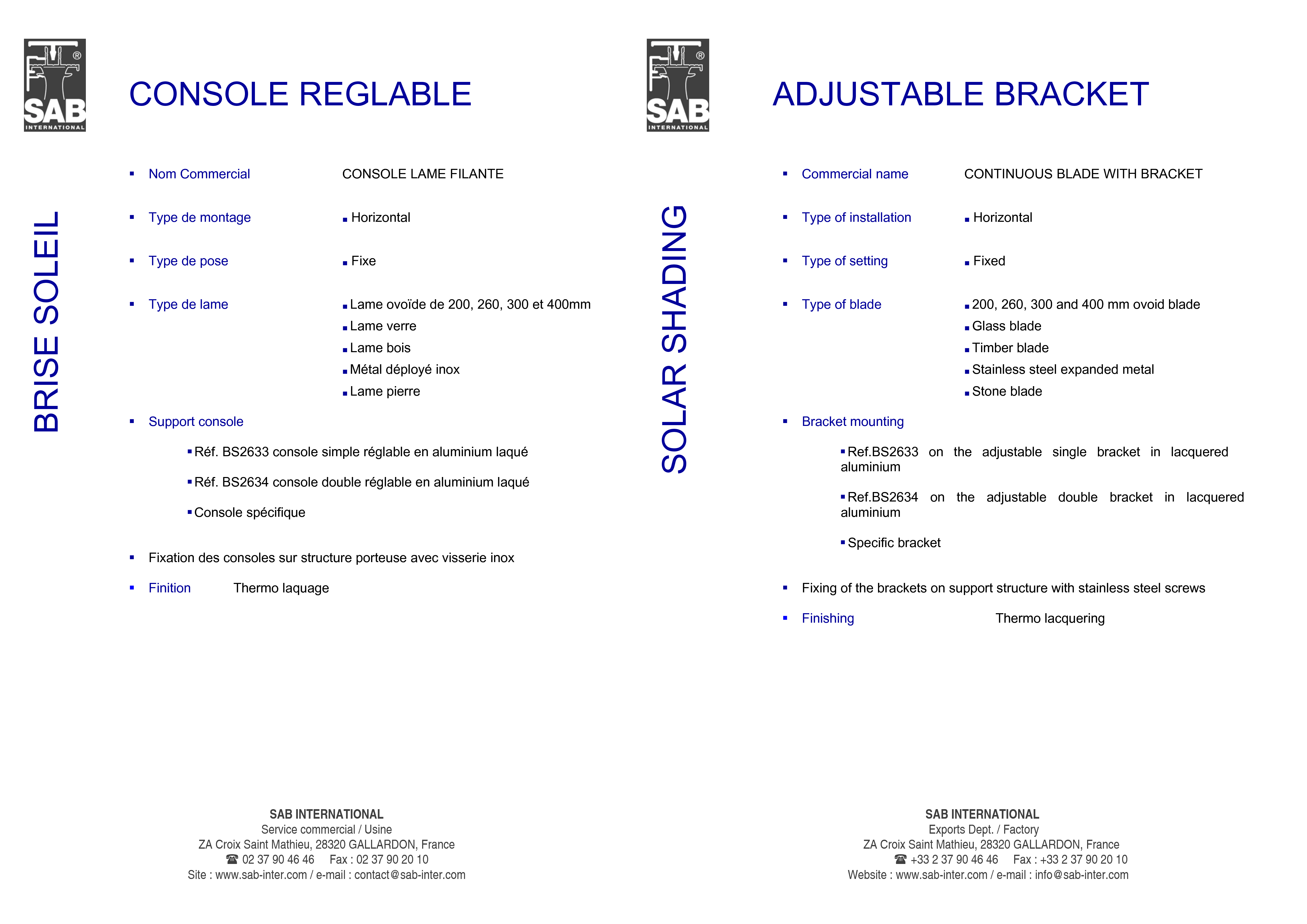 Pagina 3 - CAD-PDF Sisteme de brissoleil-uri SAB Detaliu de produs CONSOLE