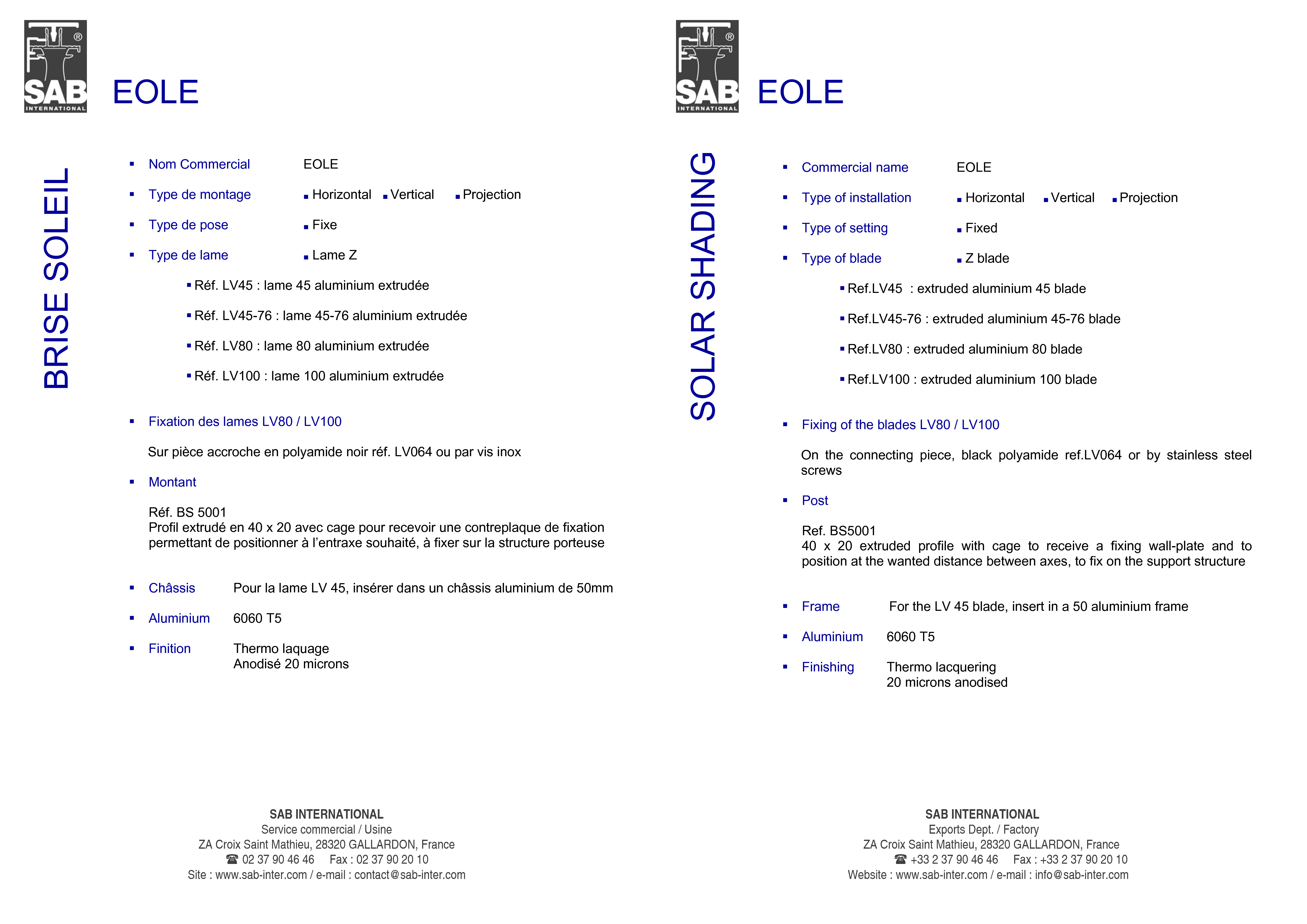 Pagina 4 - CAD-PDF Sisteme de brissoleil-uri SAB Detaliu de produs EOLE