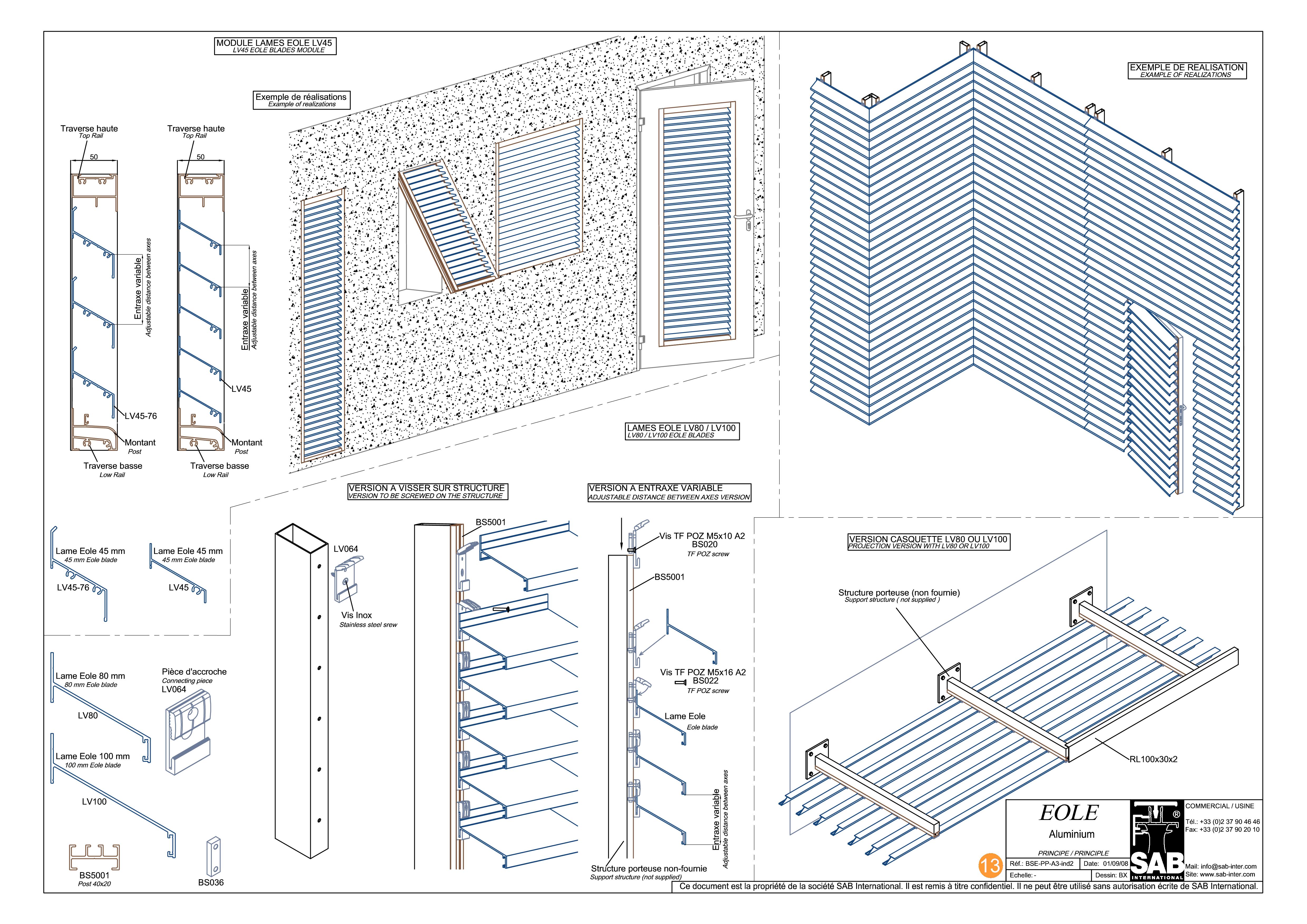 Pagina 1 - CAD-PDF Sisteme de brissoleil-uri SAB Detaliu de produs EOLE