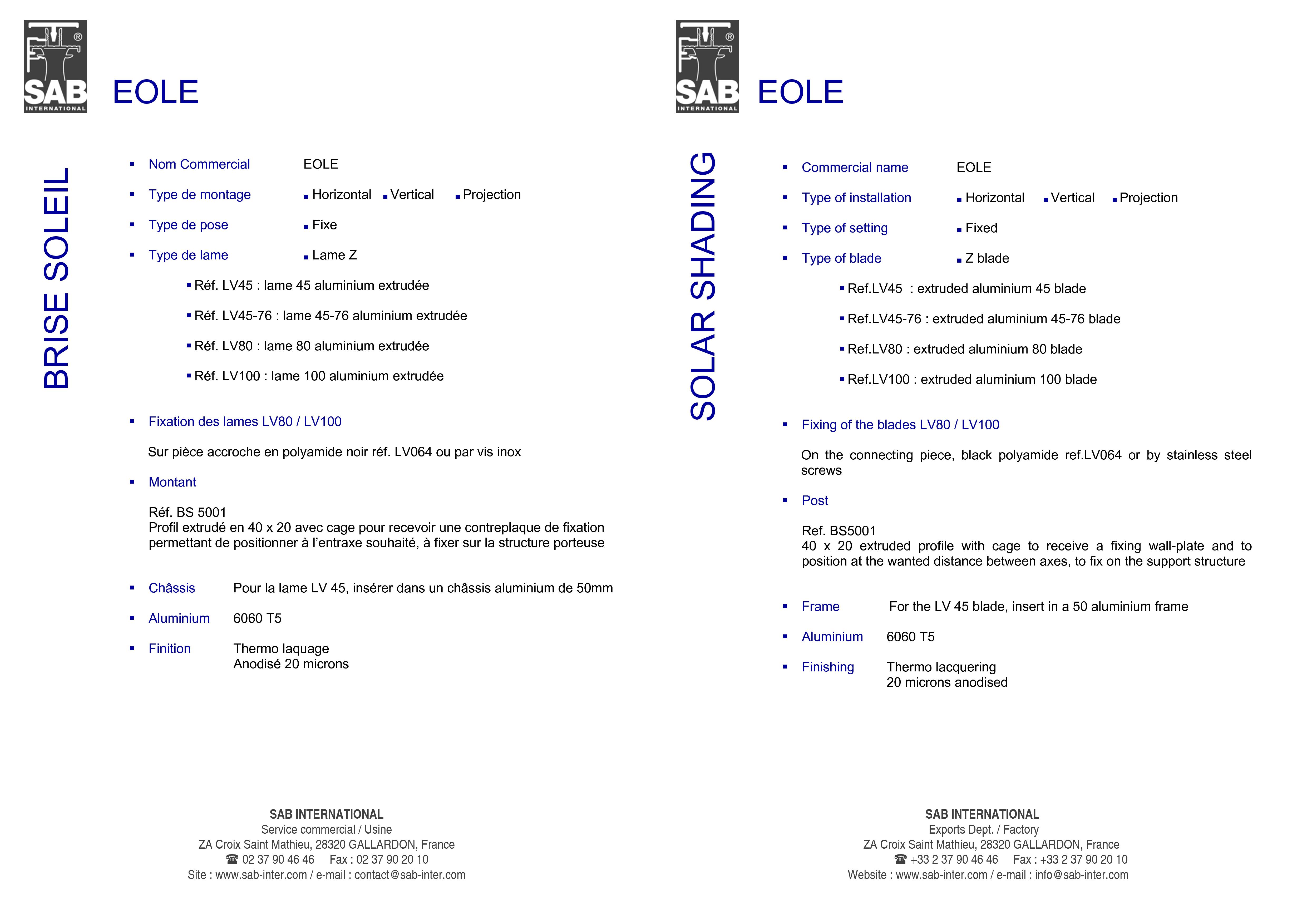 Pagina 3 - CAD-PDF Sisteme de brissoleil-uri SAB Detaliu de produs EOLE