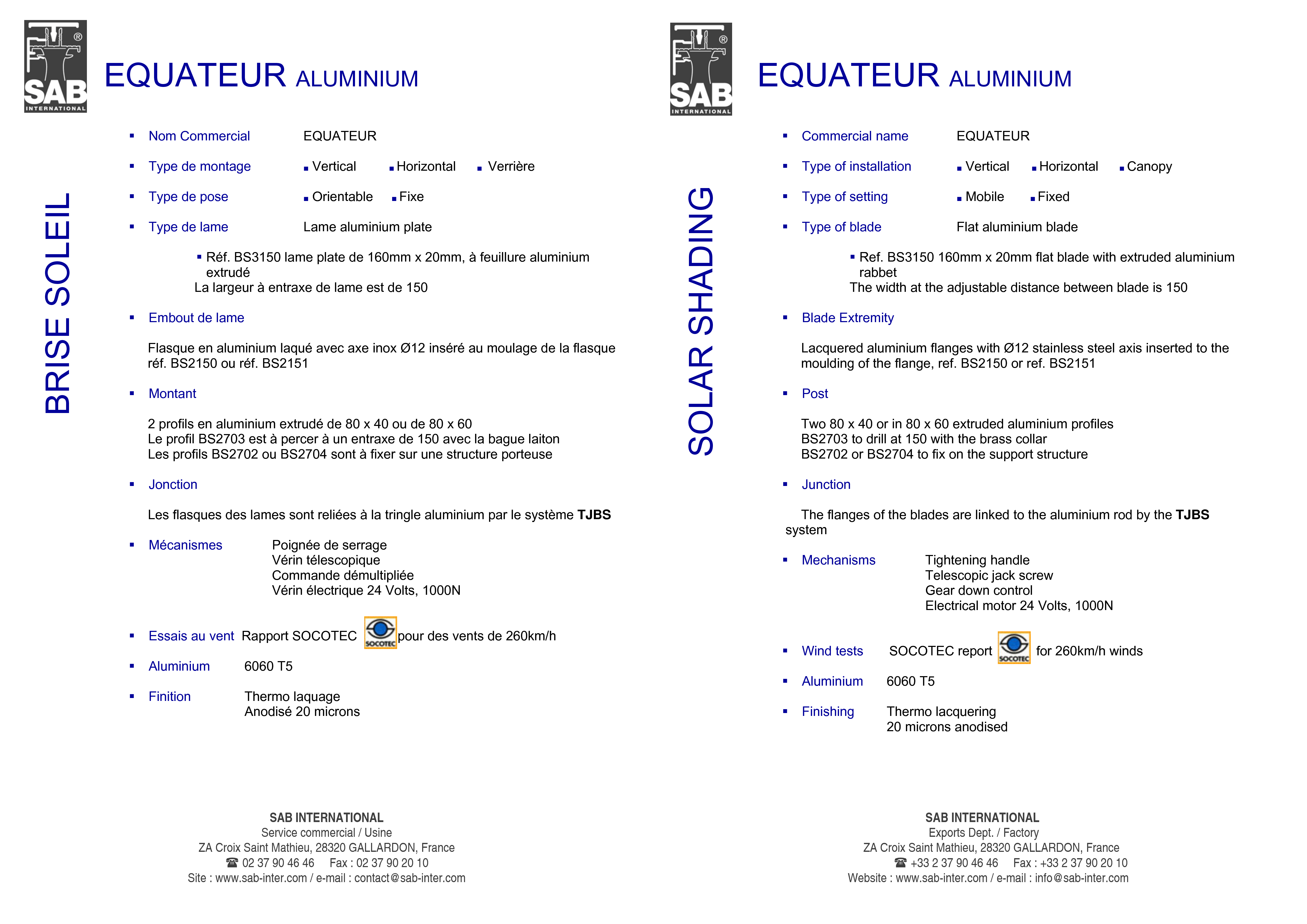 Pagina 4 - CAD-PDF Sisteme de brissoleil-uri din aluminiu SAB Detaliu de produs EQUATEUR