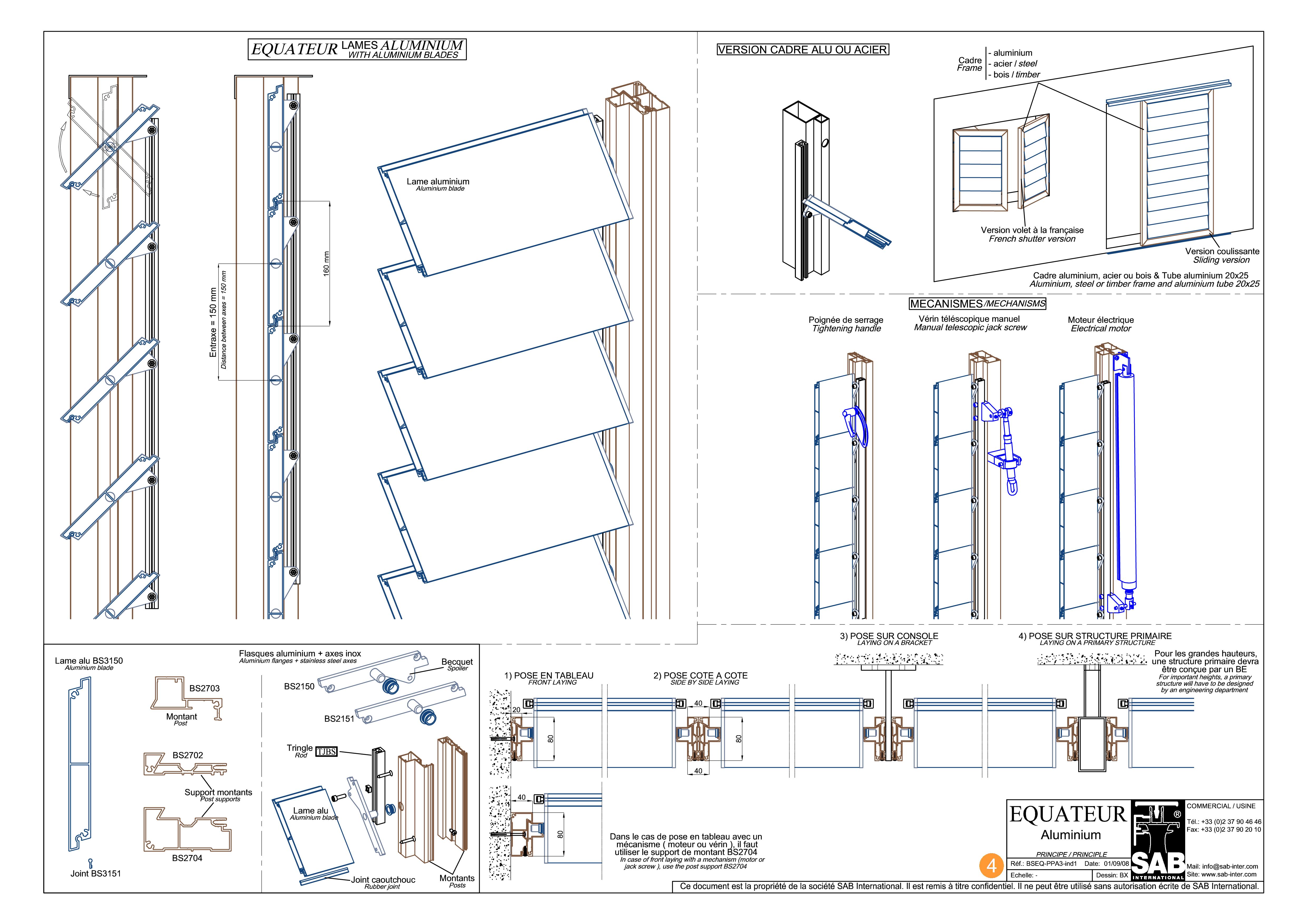 Pagina 1 - CAD-PDF Sisteme de brissoleil-uri din aluminiu SAB Detaliu de produs EQUATEUR