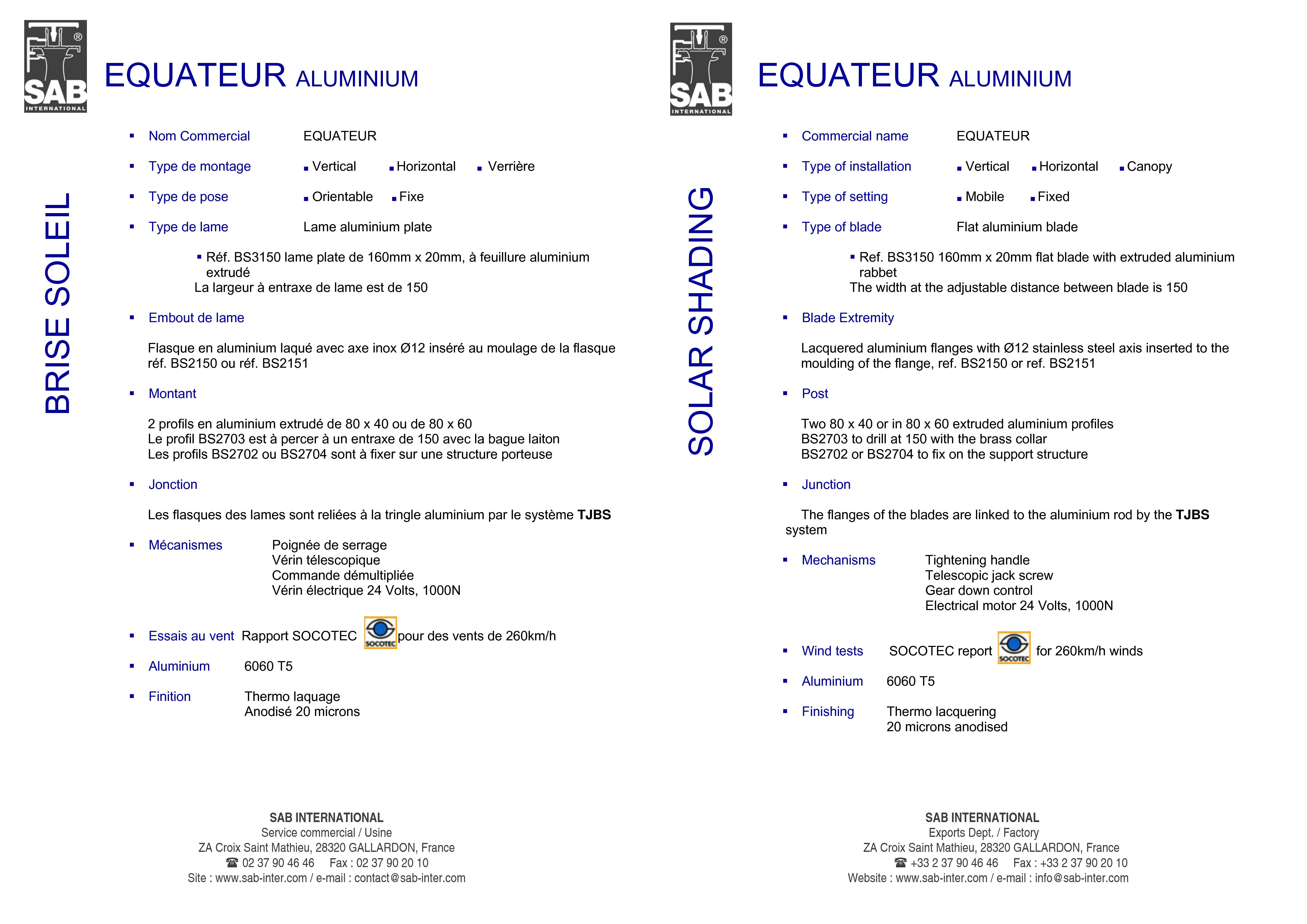 Pagina 3 - CAD-PDF Sisteme de brissoleil-uri din aluminiu SAB Detaliu de produs EQUATEUR
