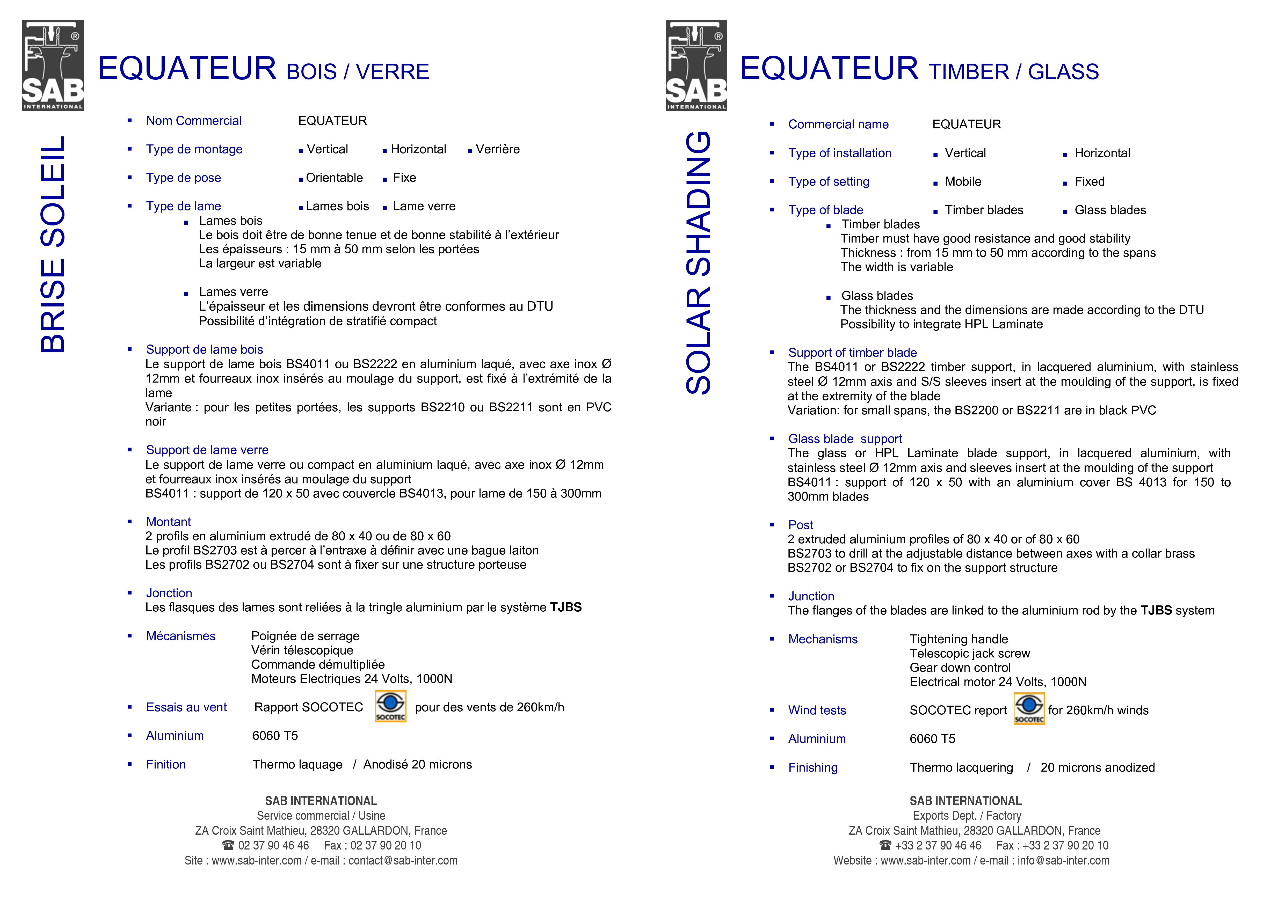Pagina 3 - CAD-PDF Sisteme de brissoleil-uri din lemn SAB Detaliu de produs EQUATEUR