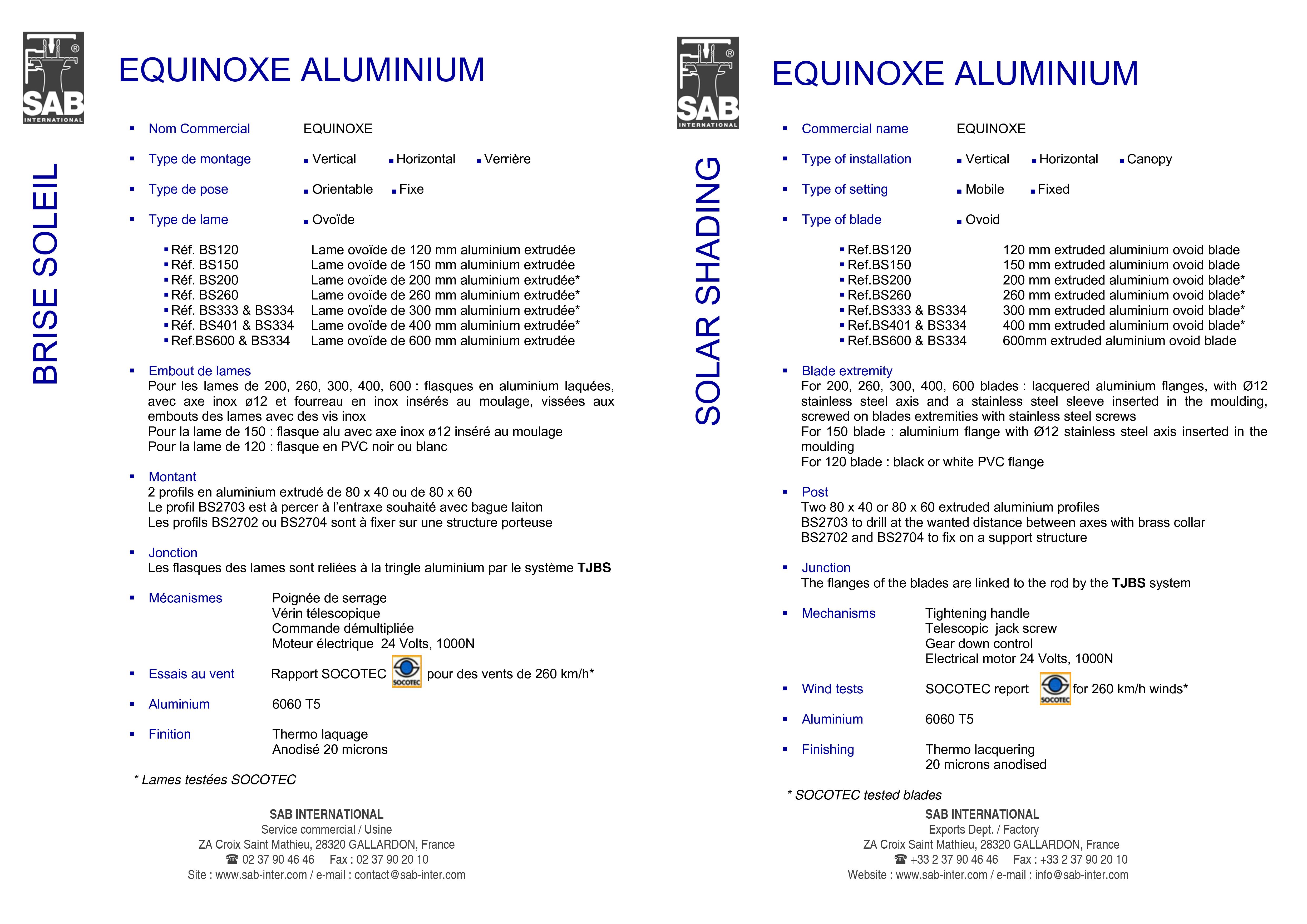 Pagina 3 - CAD-PDF Sisteme de brissoleil-uri SAB Detaliu de produs EQUINOXE