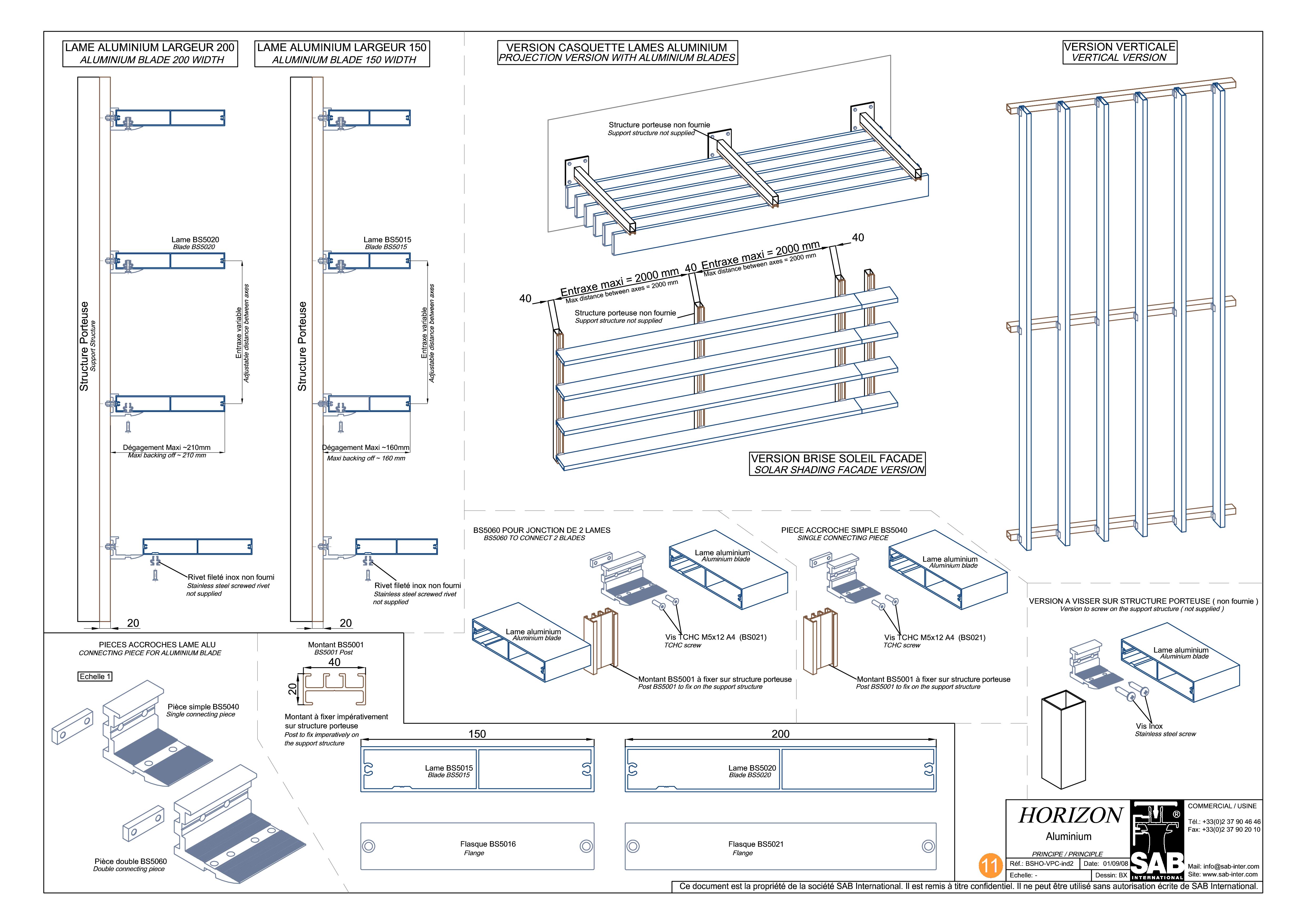 Pagina 1 - CAD-PDF Sisteme de brissoleil-uri SAB Detaliu de produs HORIZON