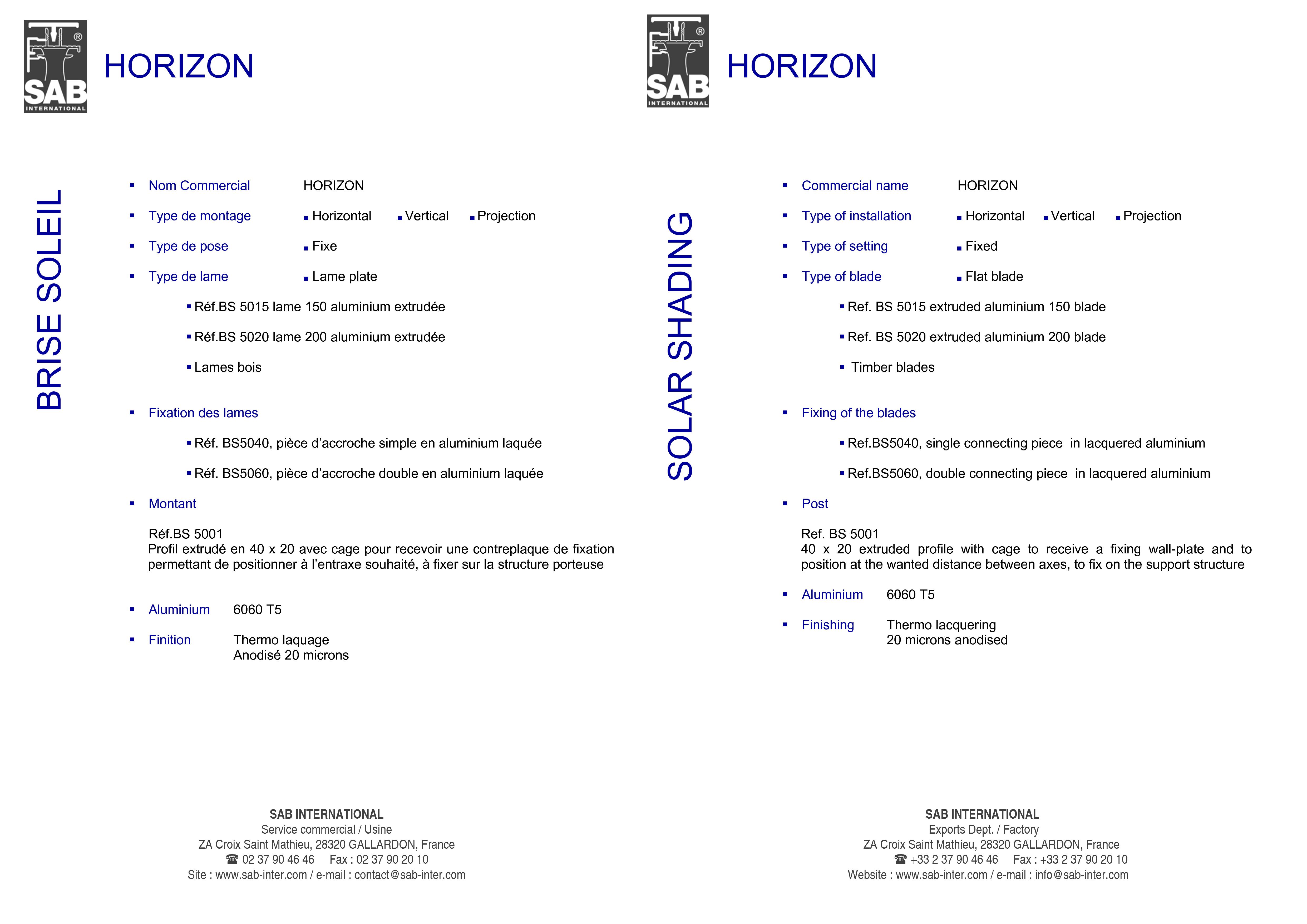 Pagina 3 - CAD-PDF Sisteme de brissoleil-uri SAB Detaliu de produs HORIZON