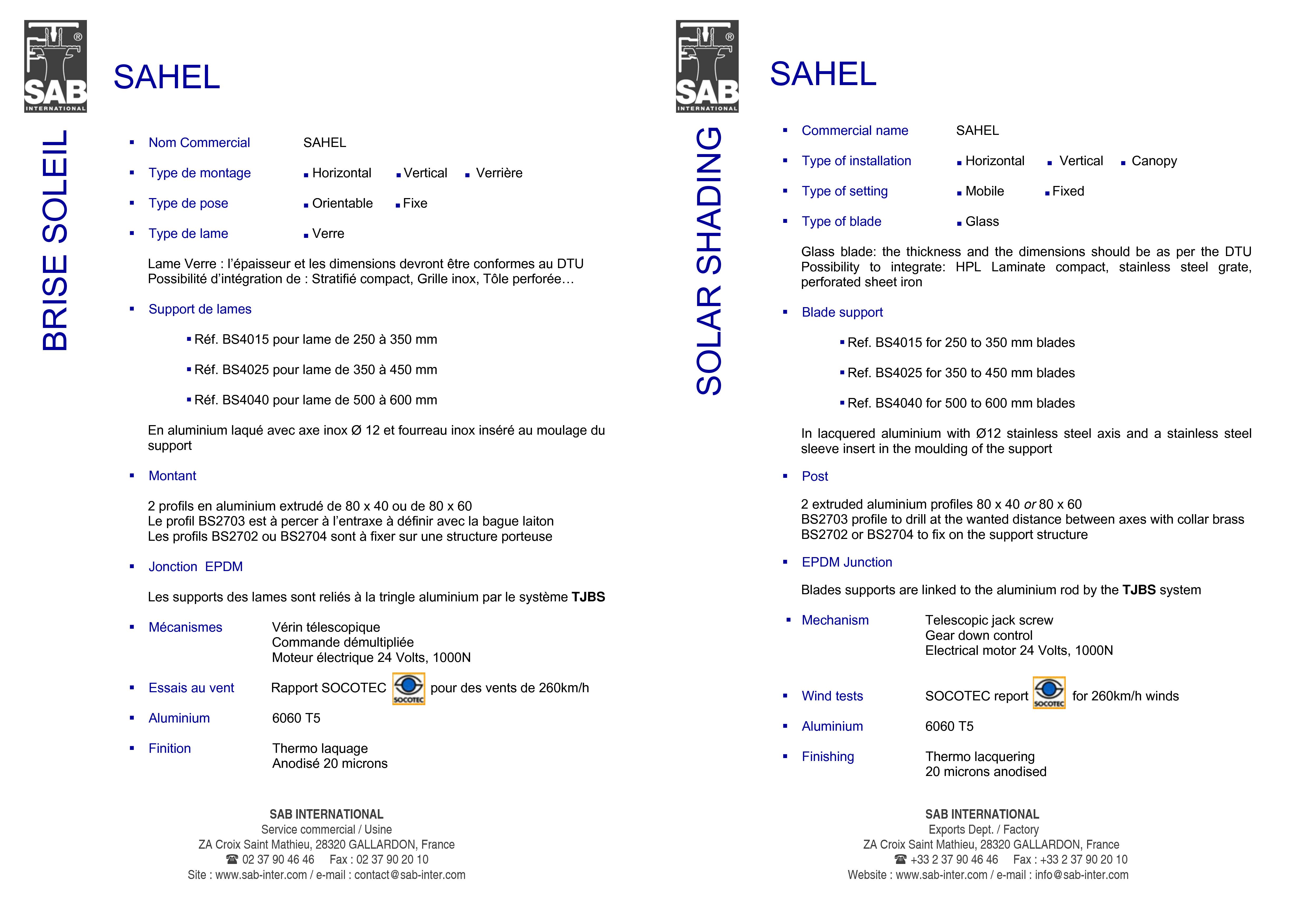 Pagina 4 - CAD-PDF Sisteme de brissoleil-uri SAB Detaliu de produs SAHEL