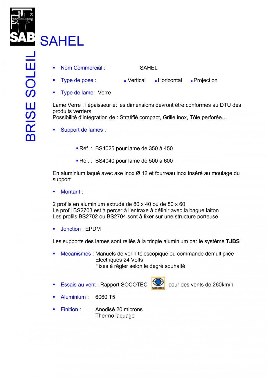 Pagina 1 - Sisteme de brissoleil-uri SAB SAHEL Fisa tehnica Franceza SAHEL BRISE SOLEIL Nom...