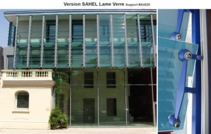 Fatada cu sistem brissoleil Sahel - Sticla clara dispusa orizontal SAHEL Sisteme de brissoleil-uri