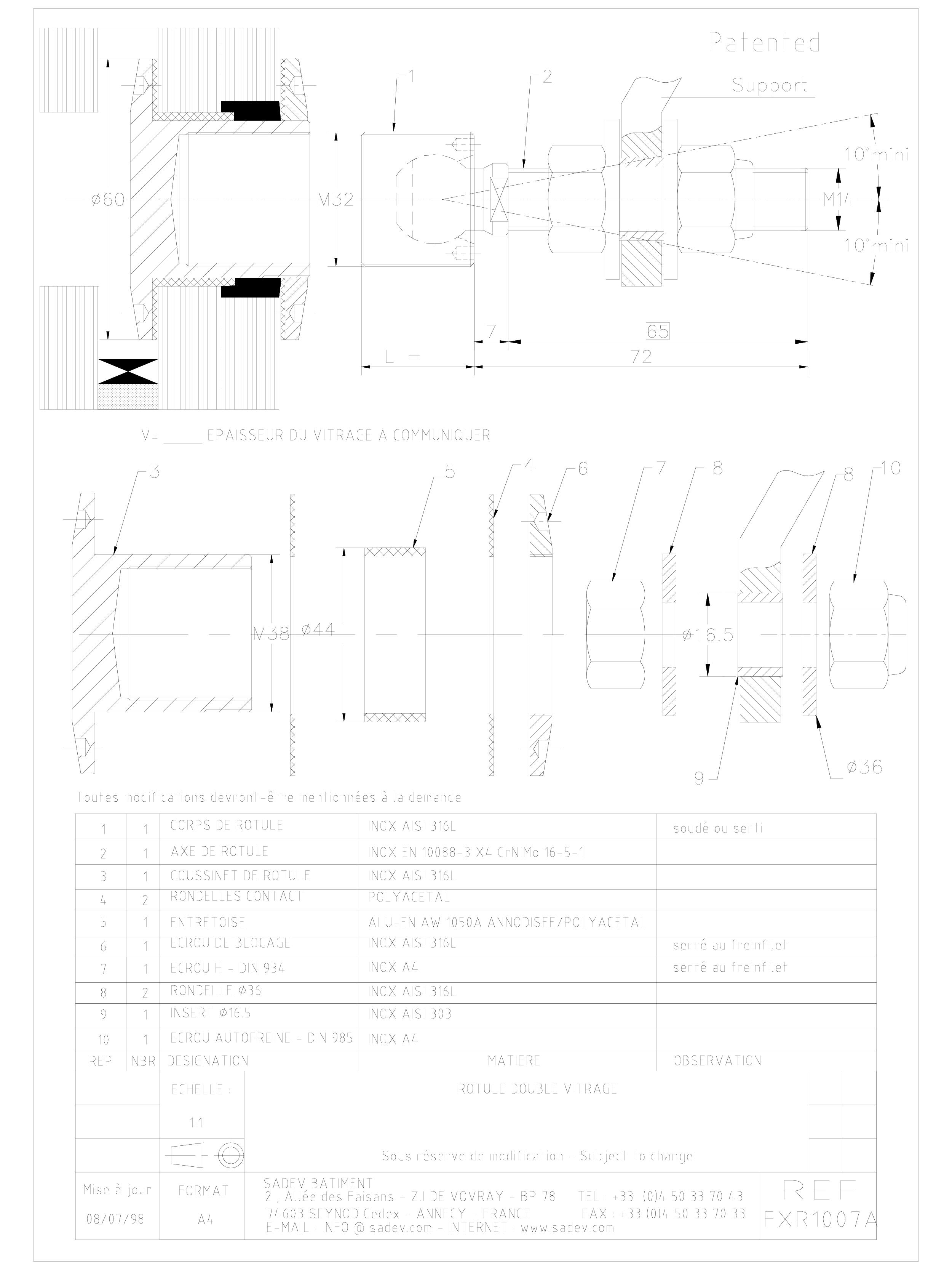 Pagina 1 - CAD-DWG Bolturi cu rotula pentru sisteme spider SADEV CLASSIC Detaliu de produs R 1039