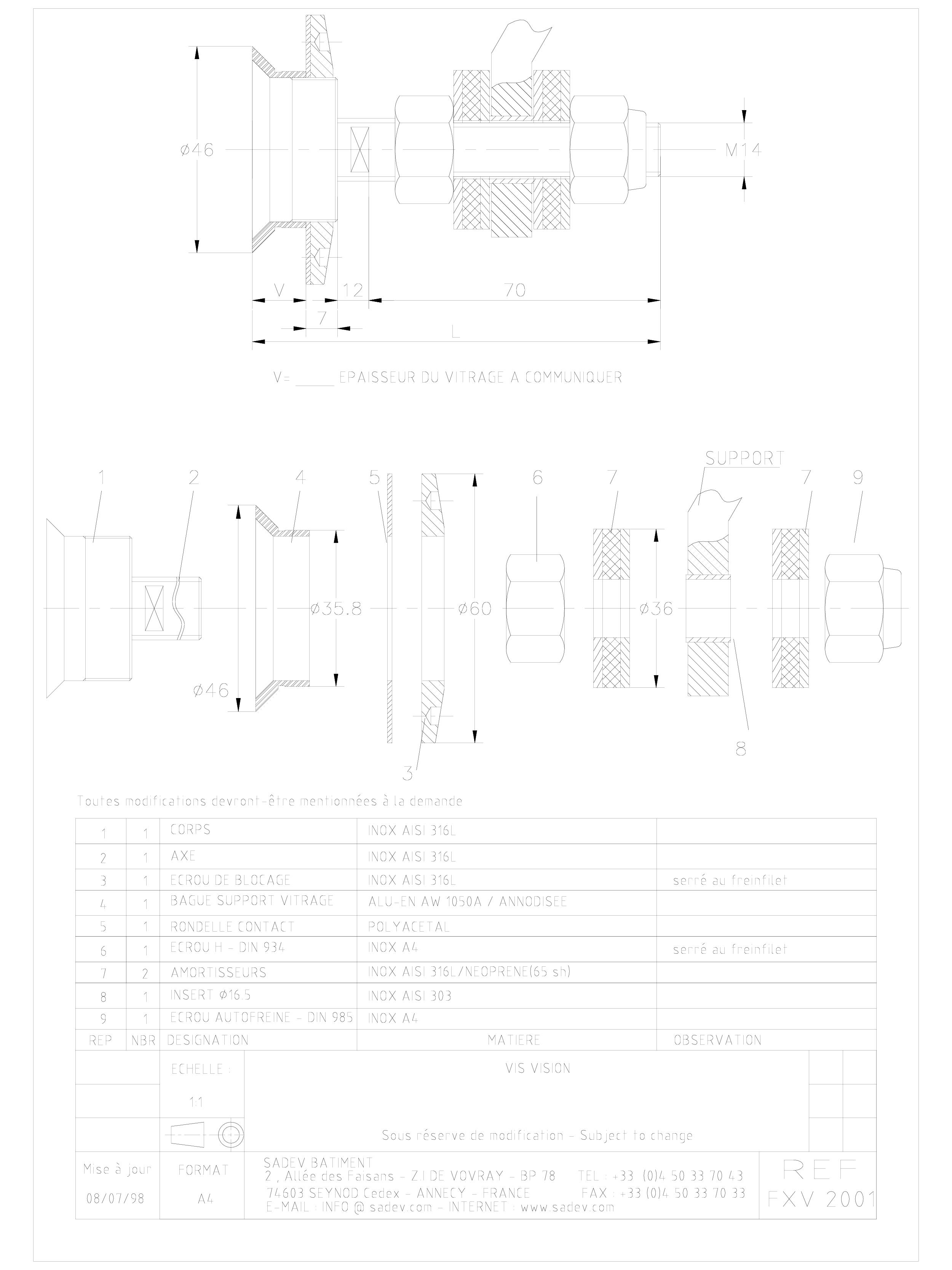 Pagina 1 - CAD-DWG Bolturi fixe pentru sisteme spider SADEV CLASSIC Detaliu de produs V 2001