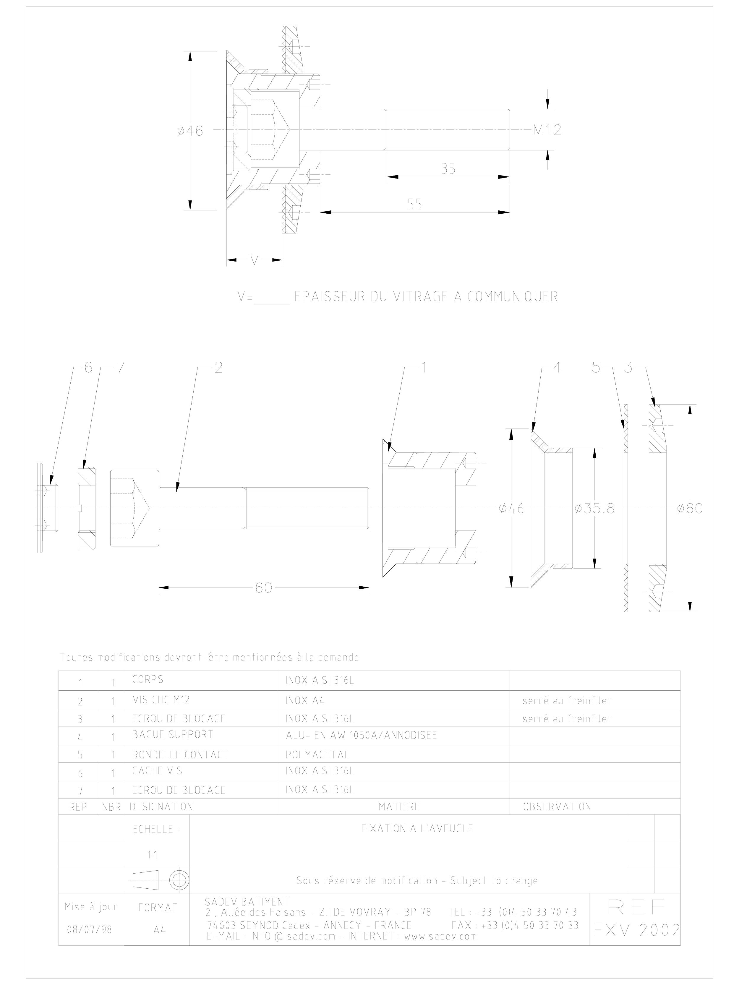Pagina 1 - CAD-DWG Bolturi fixe pentru sisteme spider SADEV CLASSIC Detaliu de produs V 2002
