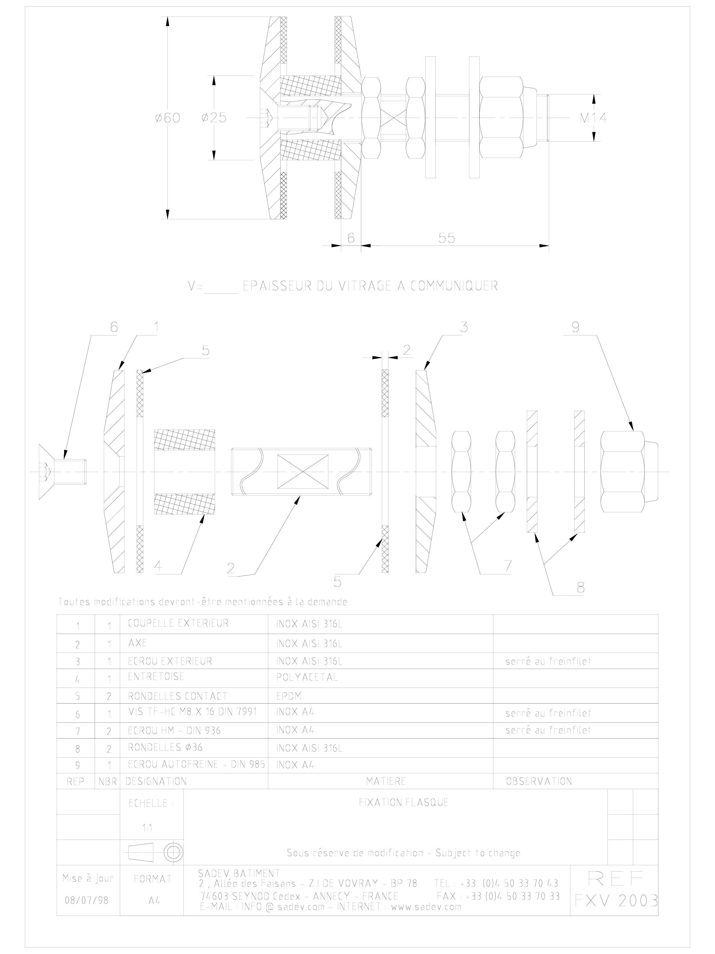 Pagina 1 - CAD-DWG Bolturi fixe pentru sisteme spider SADEV CLASSIC Detaliu de produs V 2003