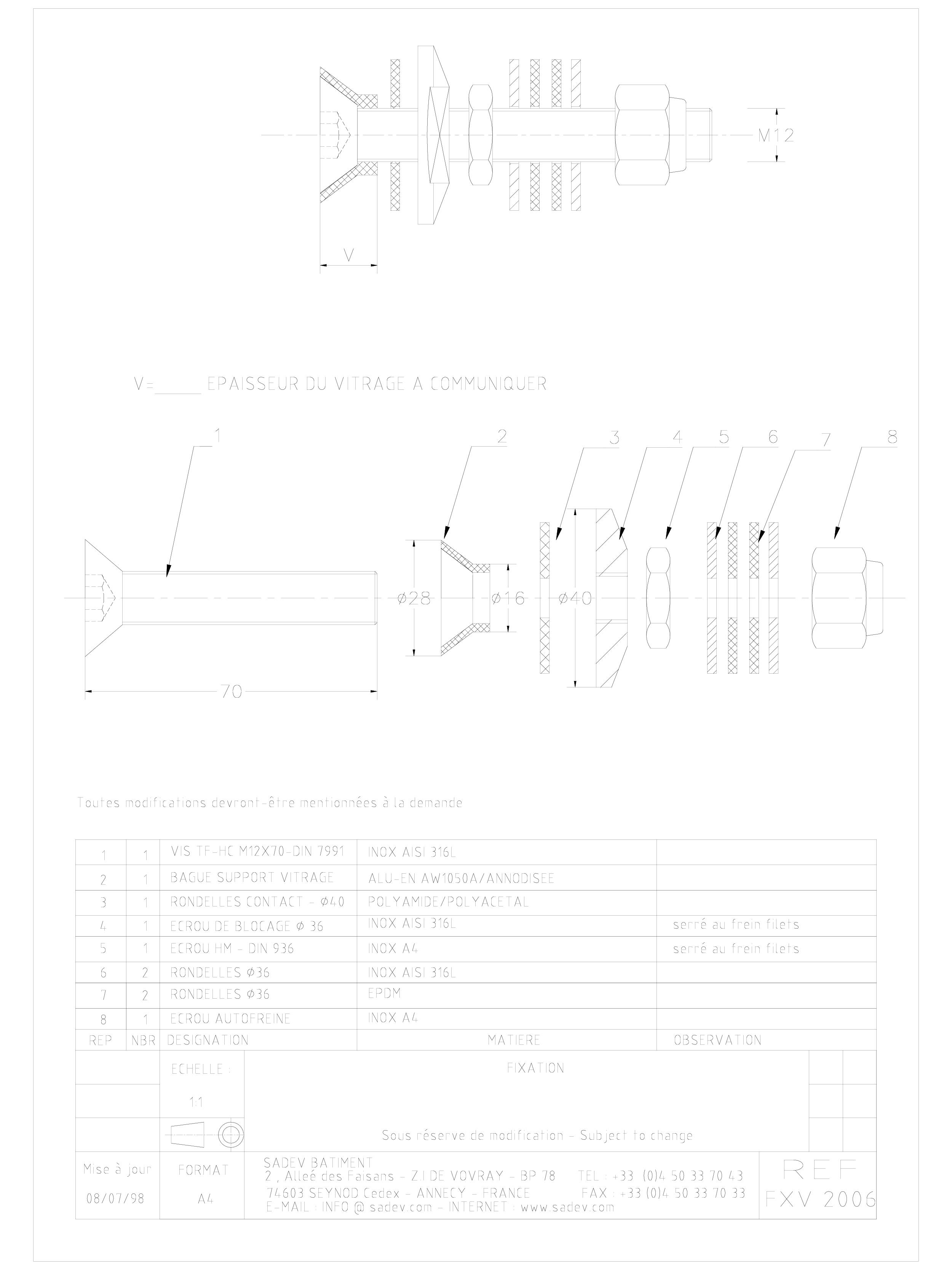 Pagina 1 - CAD-DWG Bolturi fixe pentru sisteme spider SADEV CLASSIC Detaliu de produs V 2006