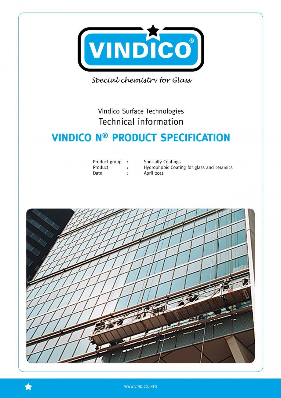Pagina 1 - Tratamente pentru sticla VINDICO N VINDICO Fisa tehnica Engleza VINDICO Vindico Surface...