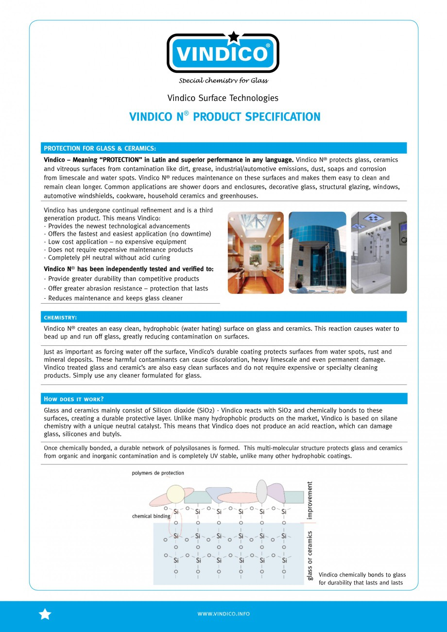Pagina 2 - Tratamente pentru sticla VINDICO N VINDICO Fisa tehnica Engleza ewest technological...