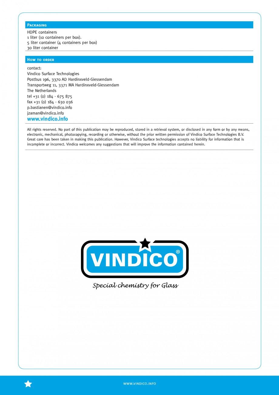 Pagina 4 - Tratamente pentru sticla VINDICO N VINDICO Fisa tehnica Engleza � Tested – Proven –...