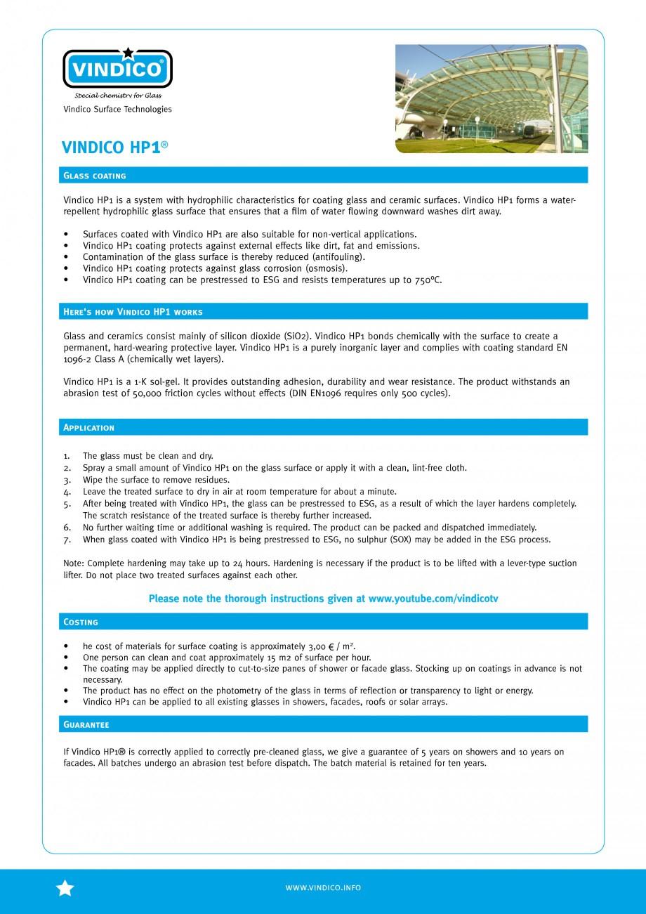 Pagina 1 - Tratamente pentru sticla VINDICO HP 1 Fisa tehnica Engleza VINDICO Vindico Surface...