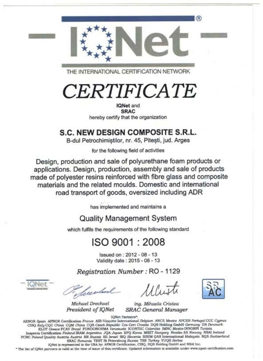 Pagina 1 - Certificat ISO SRAC-IQNET 9001-2008 NEW DESIGN COMPOSITE Certificare produs Engleza