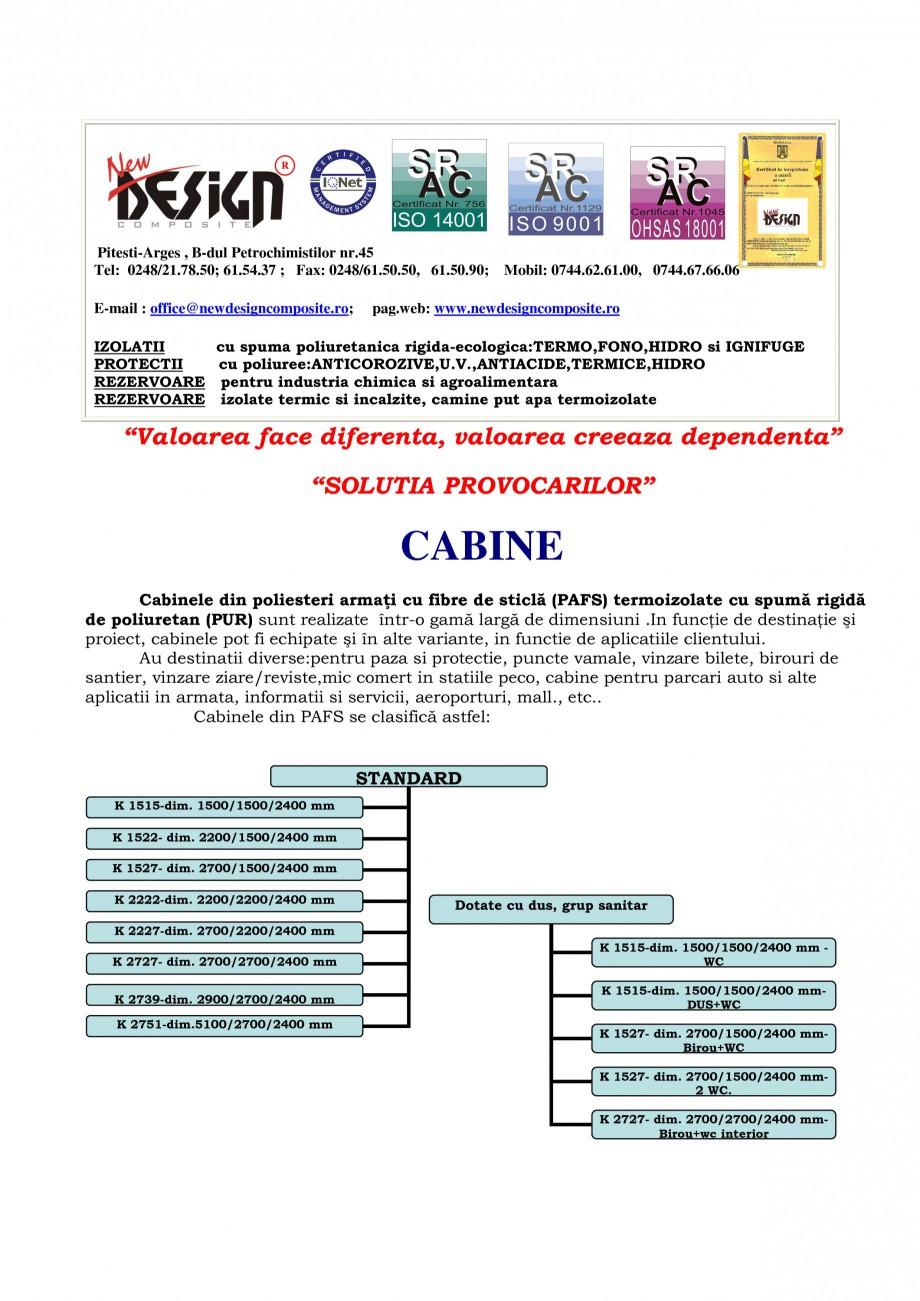 Pagina 1 - Toalete ecologice si cabine prefabricate NEW DESIGN COMPOSITE Catalog, brosura Romana R  ...