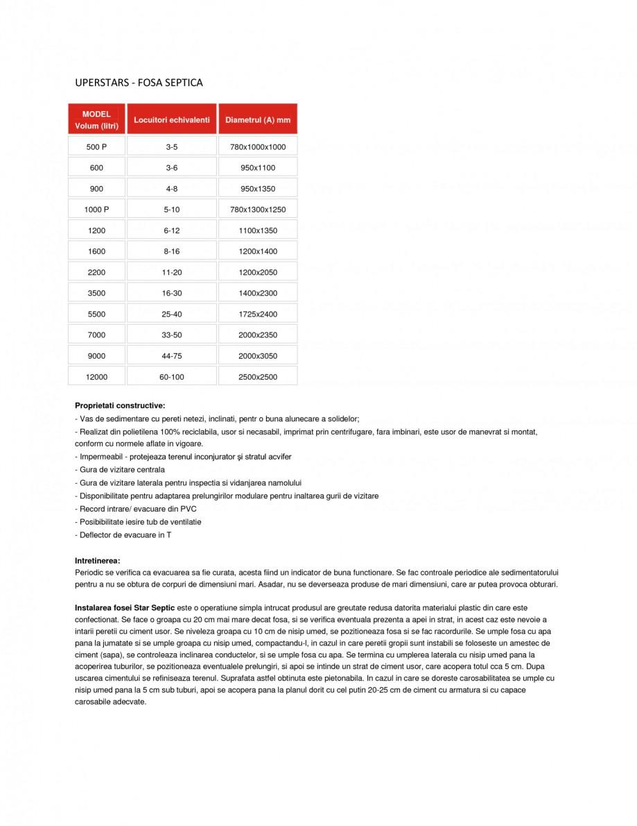 Pagina 1 - Fosa septica NEW DESIGN COMPOSITE SUPERSTARS Fisa tehnica Romana UPERSTARS - FOSA SEPTICA...