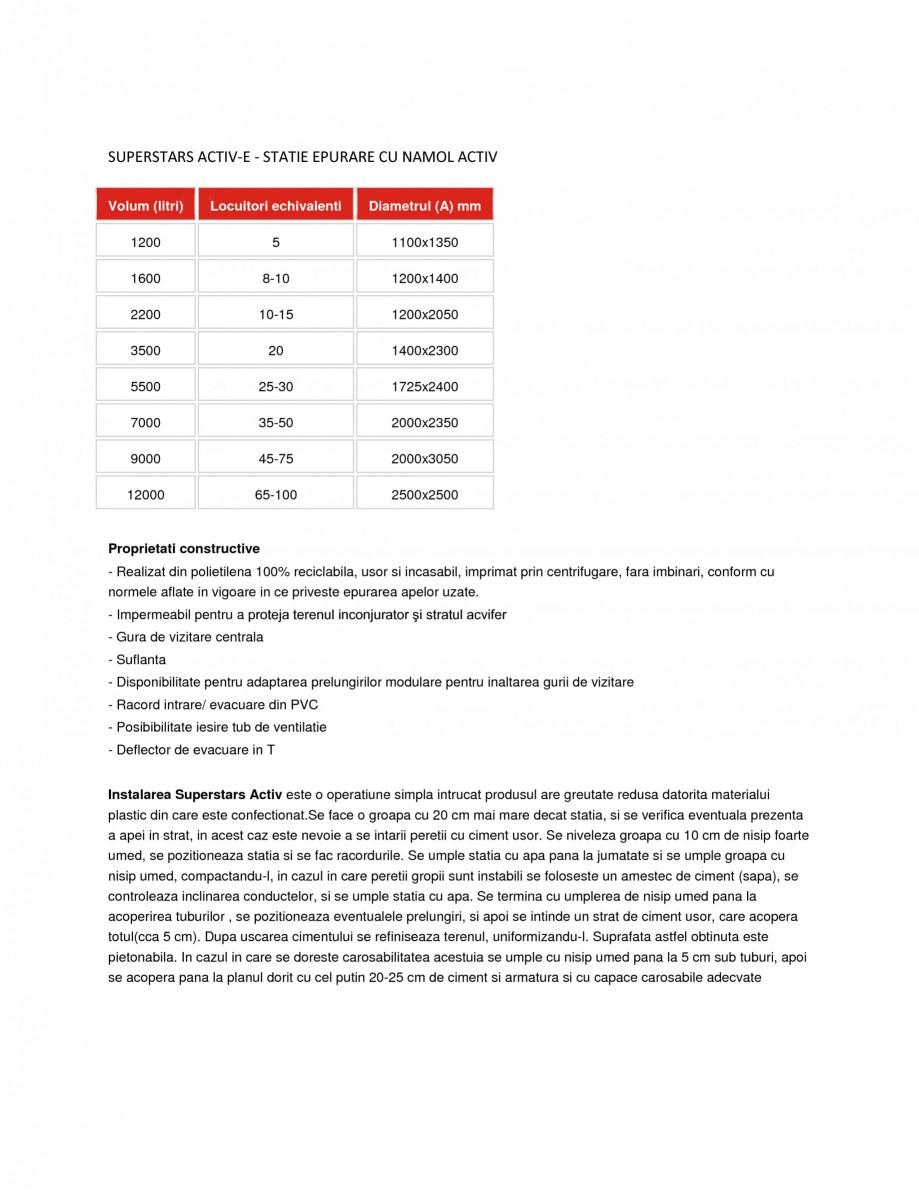 Pagina 1 - Statie de epurare cu namol activ NEW DESIGN COMPOSITE SUPERSTARS ACTIV-E Fisa tehnica...