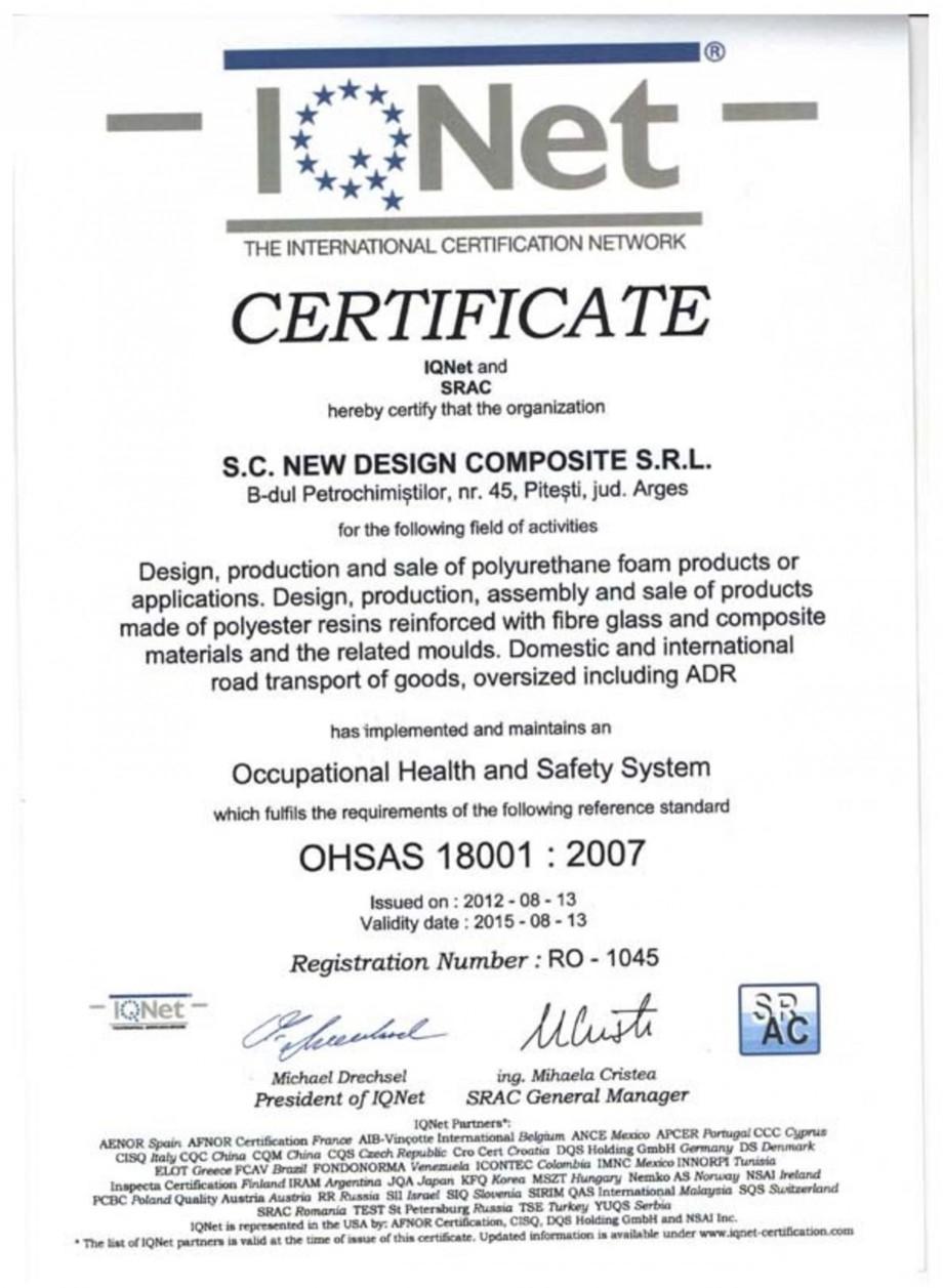 Pagina 1 - Certificat SRAC-IQNET OHSAS 18001-2007 NEW DESIGN COMPOSITE Certificare produs Romana