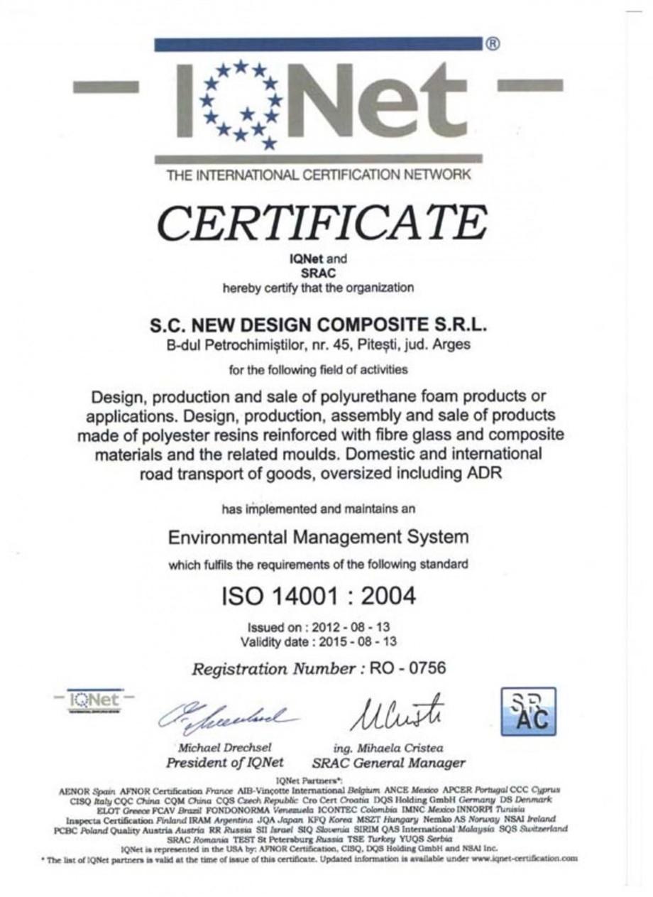 Pagina 1 - Certificat ISO 14001-2004 NEW DESIGN COMPOSITE Certificare produs Romana