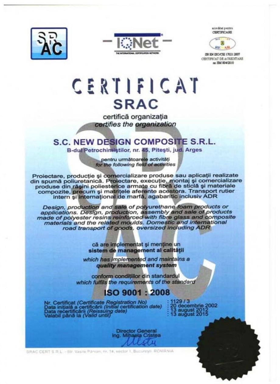 Pagina 1 - Certificat ISO SRAC 9001-2008 NEW DESIGN COMPOSITE Certificare produs Romana