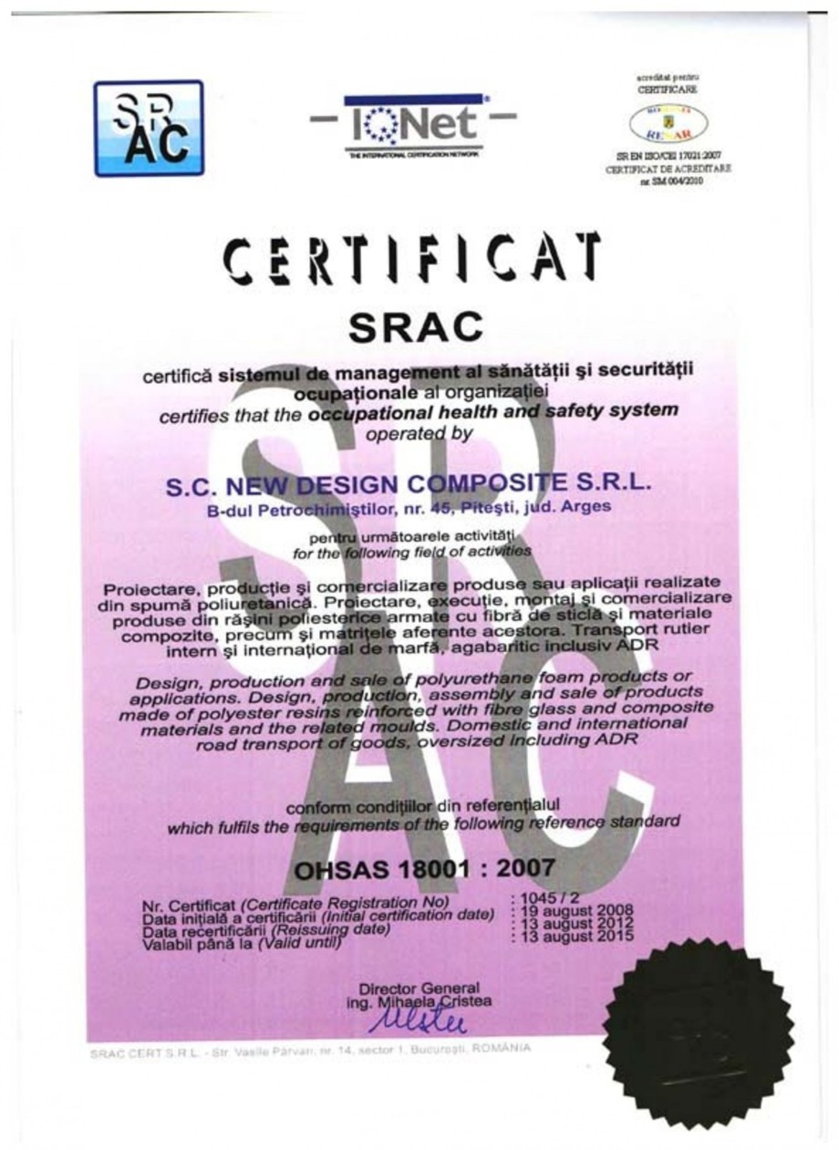 Pagina 1 - Certificat SRAC OHSAS 18001-2007 NEW DESIGN COMPOSITE Certificare produs Romana