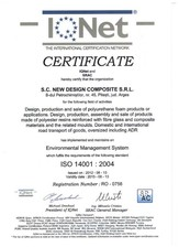 Certificat ISO 14001-2004 NEW DESIGN COMPOSITE