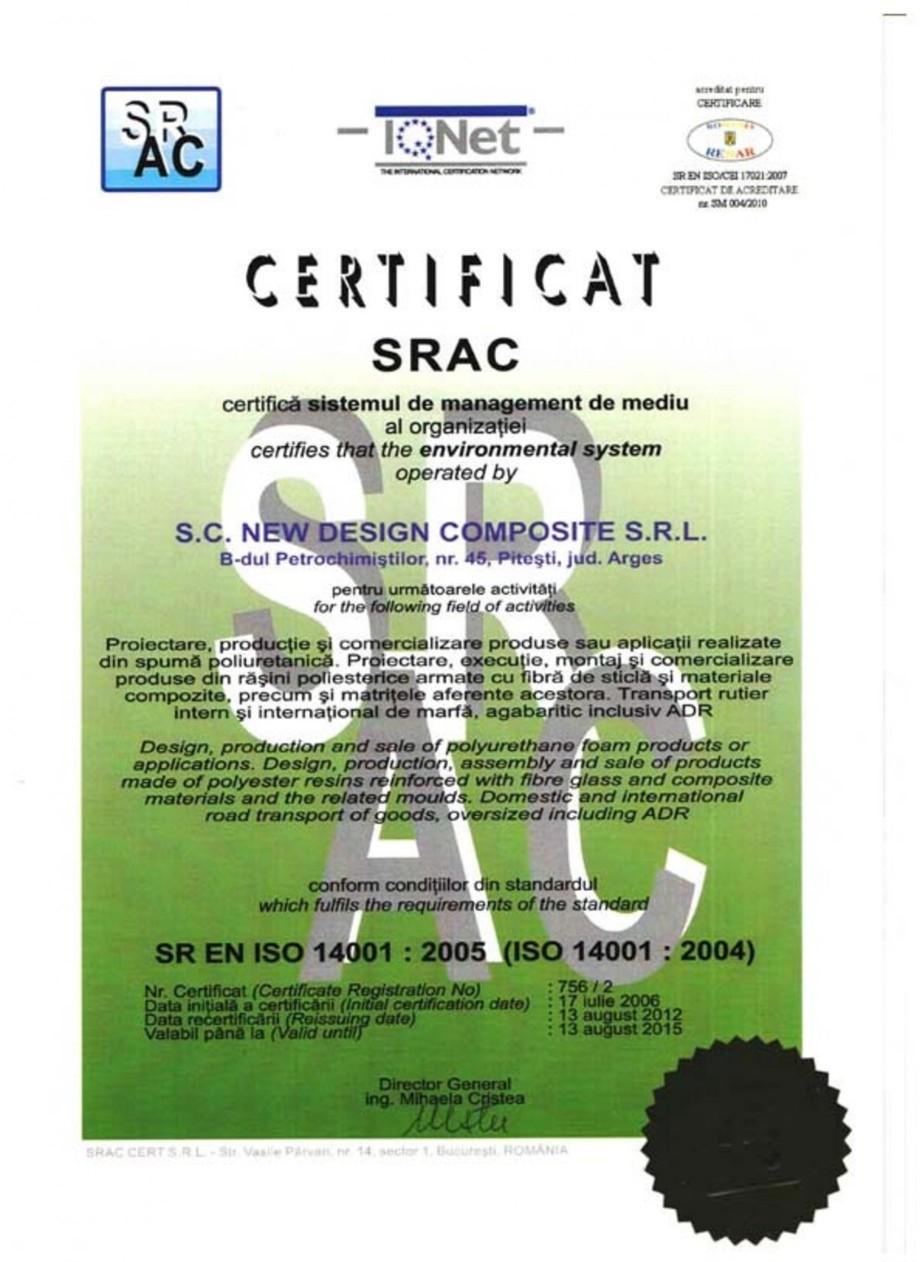 Pagina 1 - Certificat SR EN ISO 14001-2005 NEW DESIGN COMPOSITE Certificare produs Romana, Engleza
