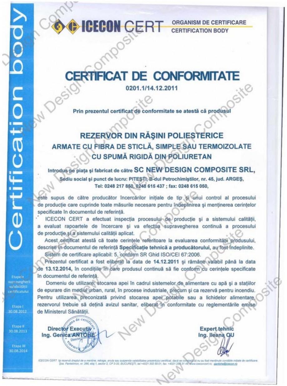 Pagina 1 - Certificat de conformitate NEW DESIGN COMPOSITE Certificare produs Romana