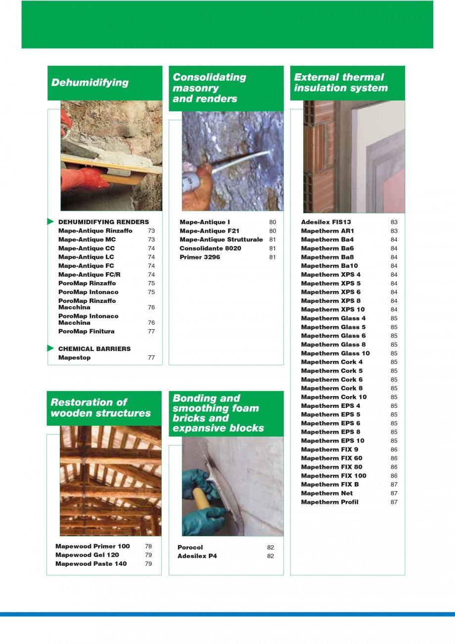 Pagina 4 - Mortare, materiale speciale MAPEI Catalog, brosura Engleza  3 20 Fiberplan 20 Nivorapid...