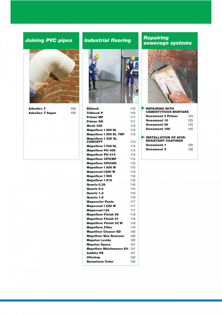 Pagina 6 - Mortare, materiale speciale MAPEI Catalog, brosura Engleza idifying  Consolidating...