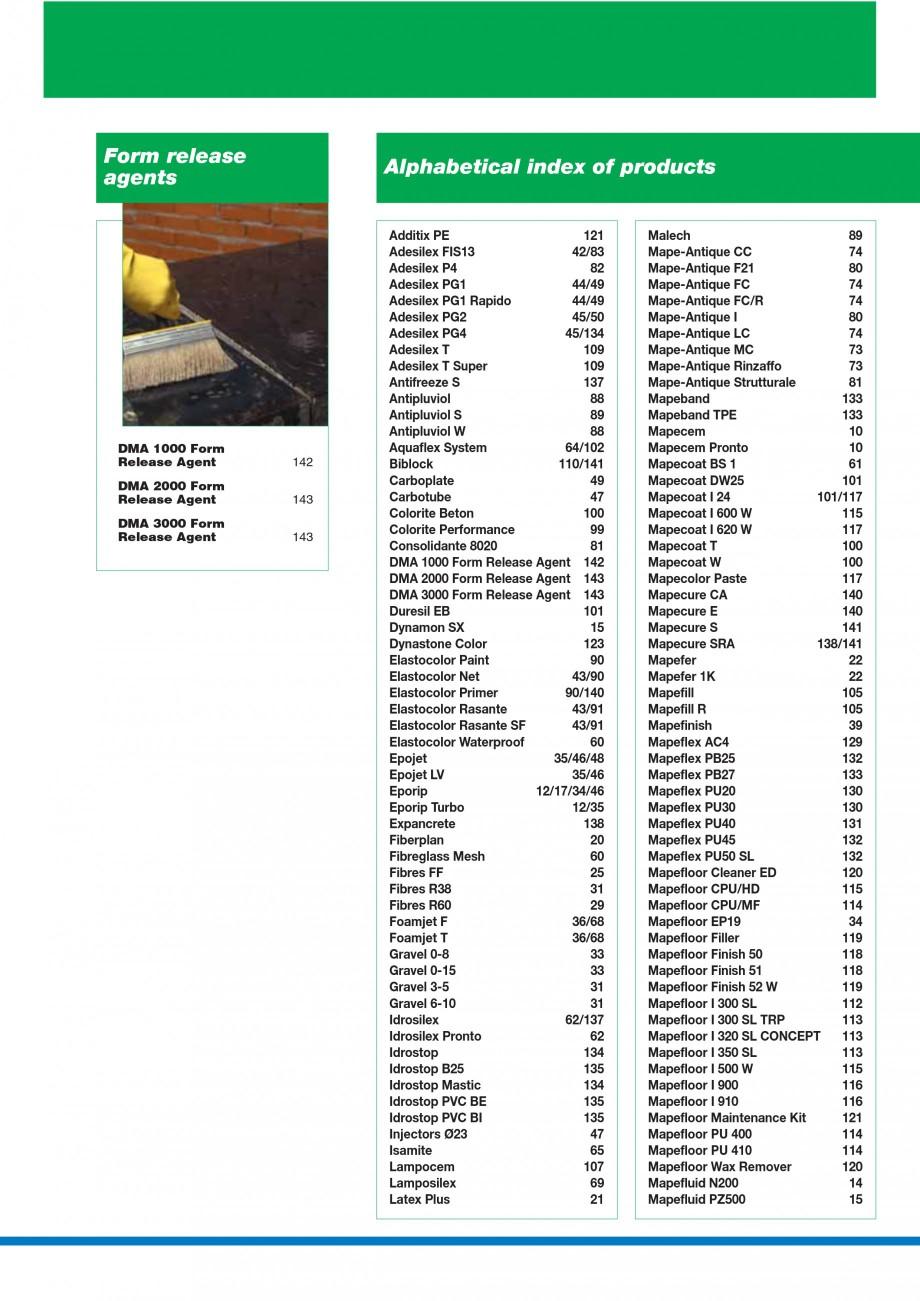 Pagina 8 - Mortare, materiale speciale MAPEI Catalog, brosura Engleza esil EB  88 88 89 89 90 90 90 ...