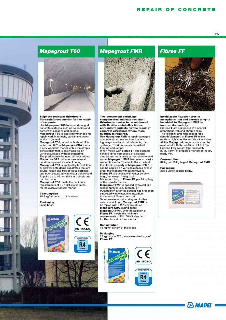 Pagina 27 - Mortare, materiale speciale MAPEI Catalog, brosura Engleza  Add Dynamon SX directly to...