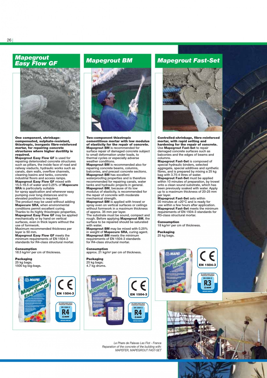 Pagina 28 - Mortare, materiale speciale MAPEI Catalog, brosura Engleza d PZ500 must be added to the ...