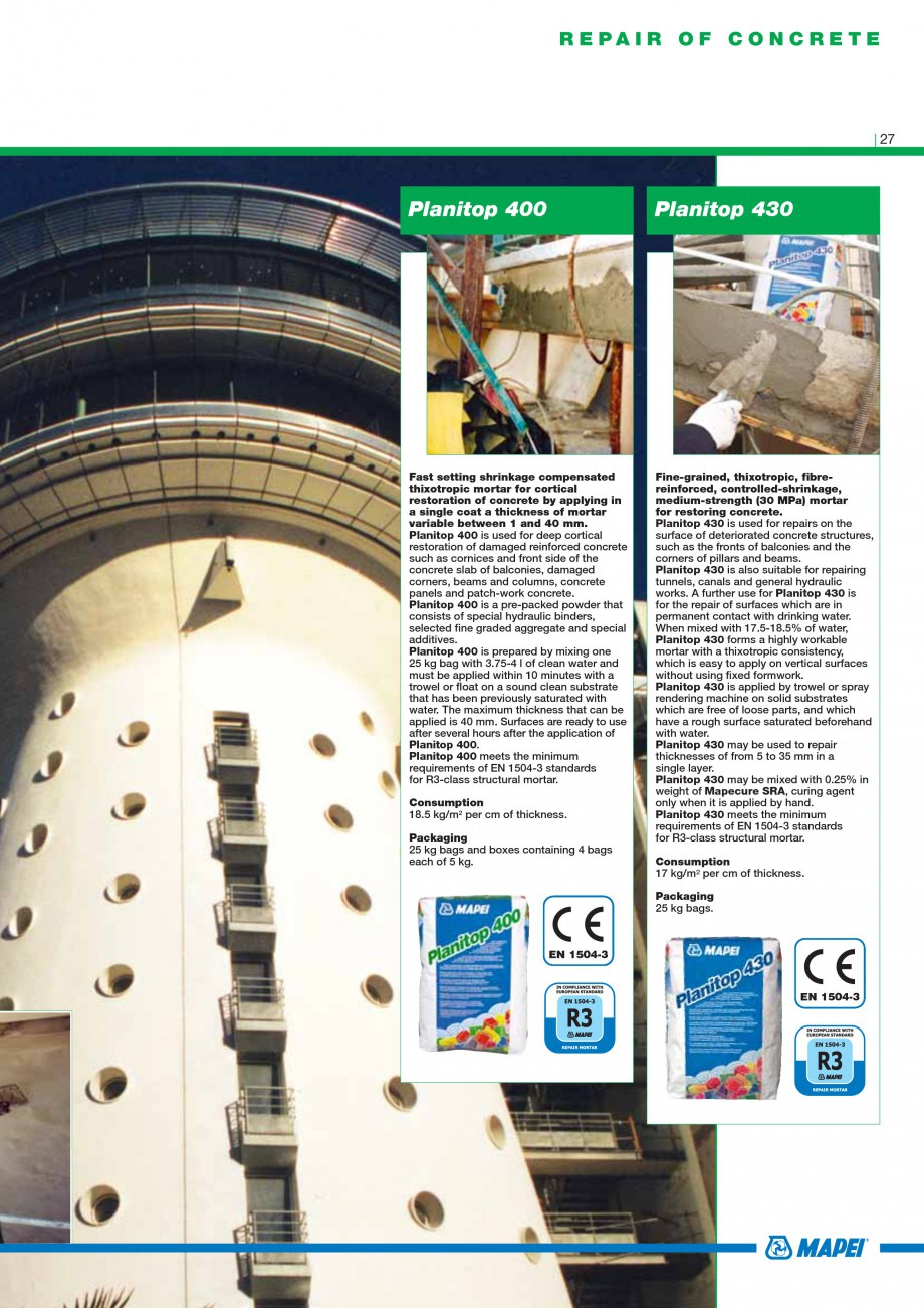 Pagina 29 - Mortare, materiale speciale MAPEI Catalog, brosura Engleza te surfaces prior to the...